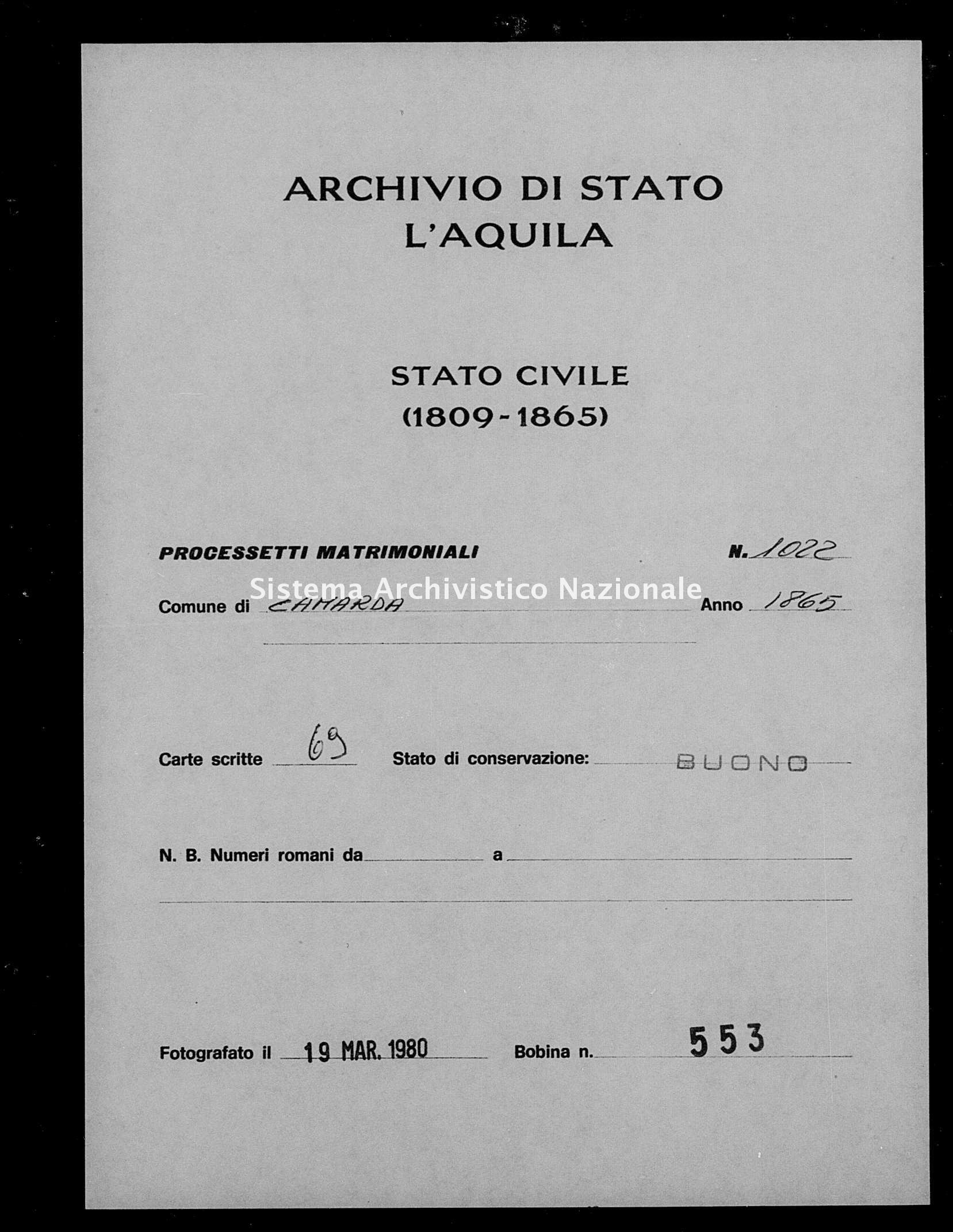 Archivio di stato di L'aquila - Stato civile italiano - Camarda - Matrimoni, processetti - 1865 - 1022 -