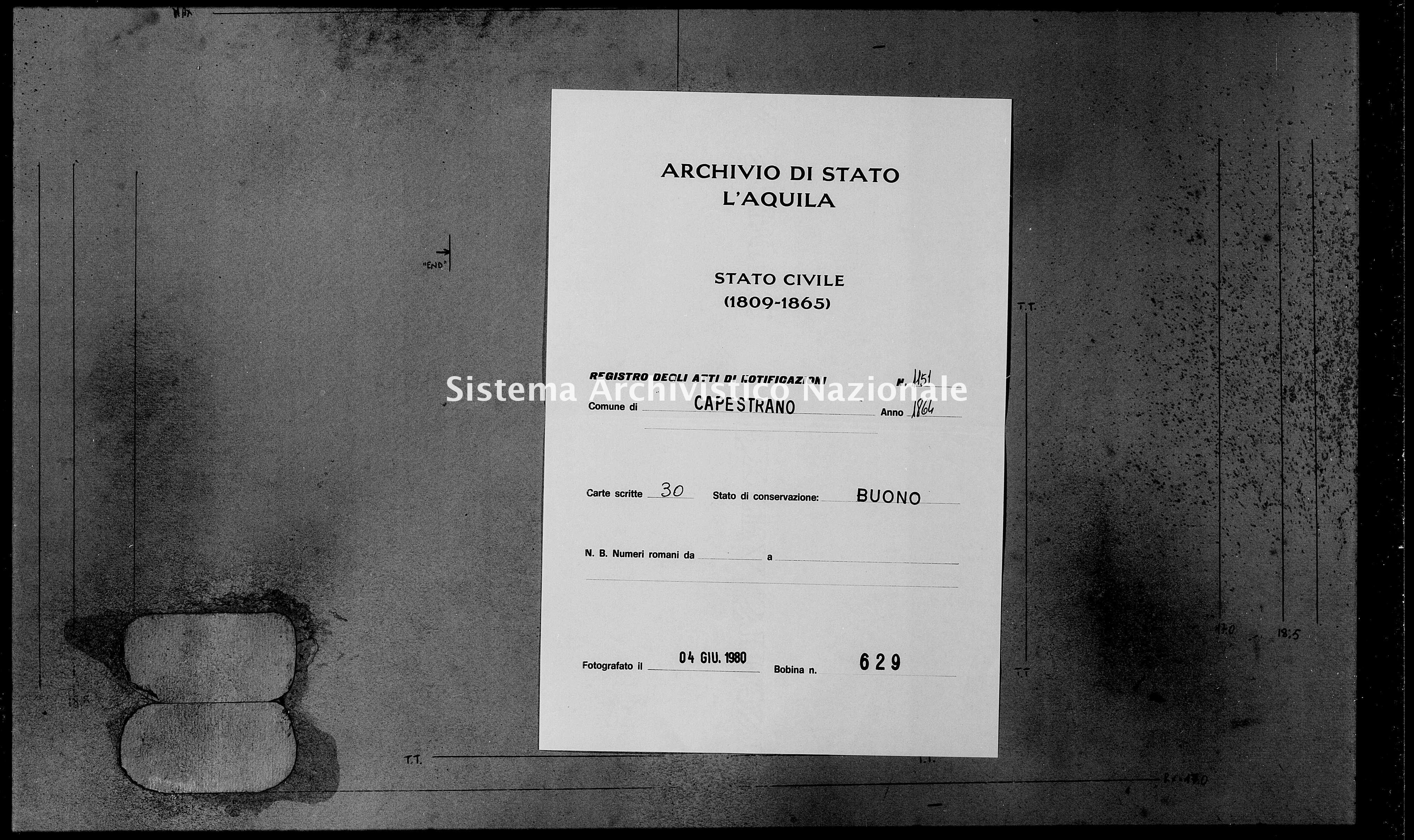 Archivio di stato di L'aquila - Stato civile italiano - Capestrano - Matrimoni, memorandum notificazioni ed opposizioni - 1864 - 1151 -