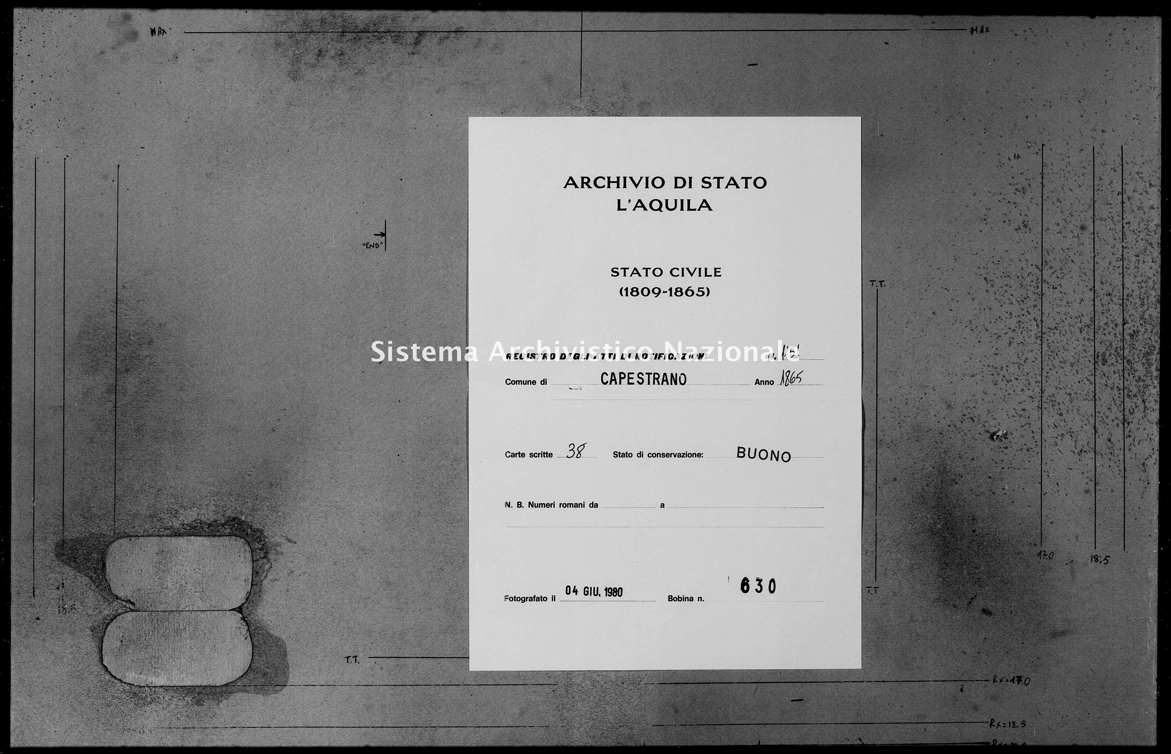 Archivio di stato di L'aquila - Stato civile italiano - Capestrano - Matrimoni, memorandum notificazioni ed opposizioni - 1865 - 1151 -