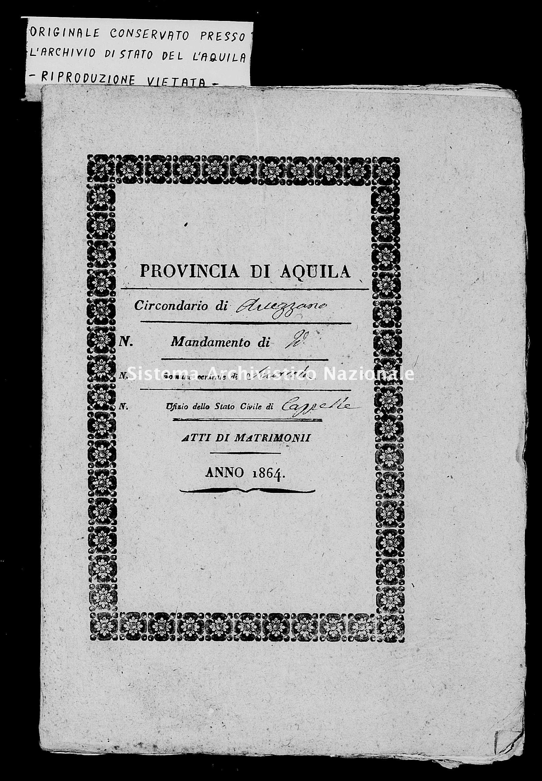 Archivio di stato di L'aquila - Stato civile italiano - Cappelle de' Marsi - Matrimoni - 1864 -