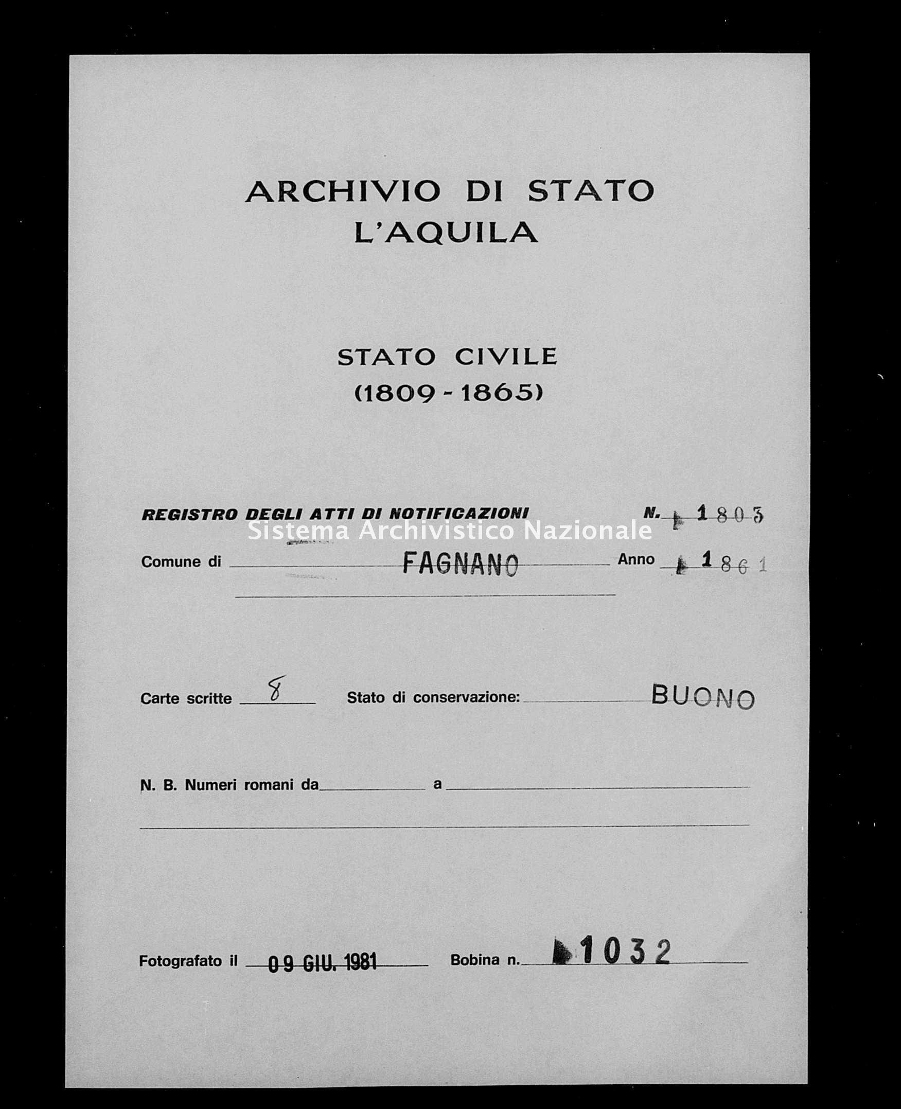 Archivio di stato di L'aquila - Stato civile italiano - Fagnano Alto - Matrimoni, memorandum notificazioni ed opposizioni - 1861 - 1803 -