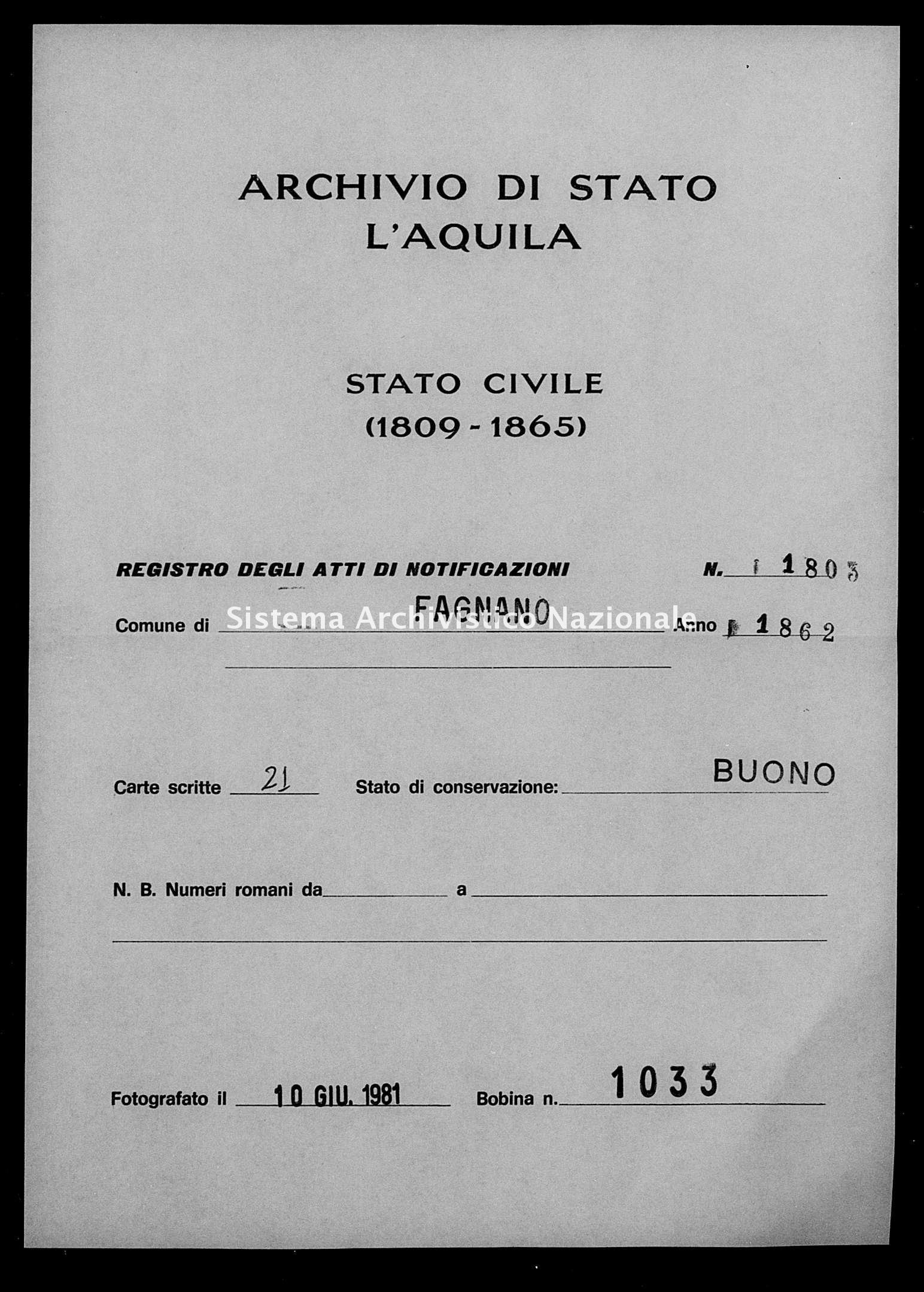 Archivio di stato di L'aquila - Stato civile italiano - Fagnano Alto - Matrimoni, memorandum notificazioni ed opposizioni - 1862 - 1803 -