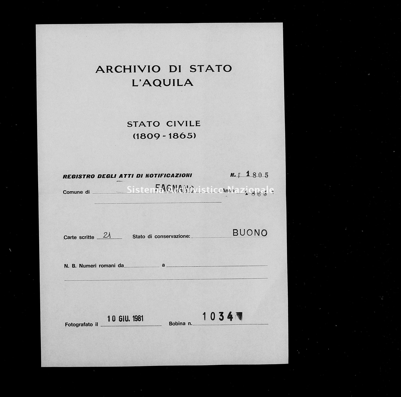 Archivio di stato di L'aquila - Stato civile italiano - Fagnano Alto - Matrimoni, memorandum notificazioni ed opposizioni - 1865 - 1805 -