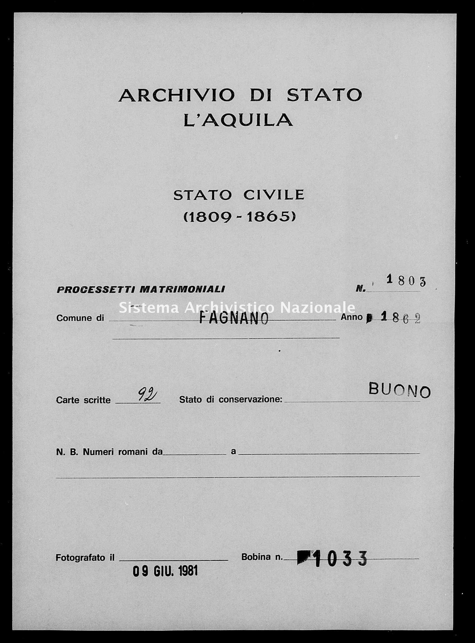 Archivio di stato di L'aquila - Stato civile italiano - Fagnano Alto - Matrimoni, processetti - 1862 - 1803 -
