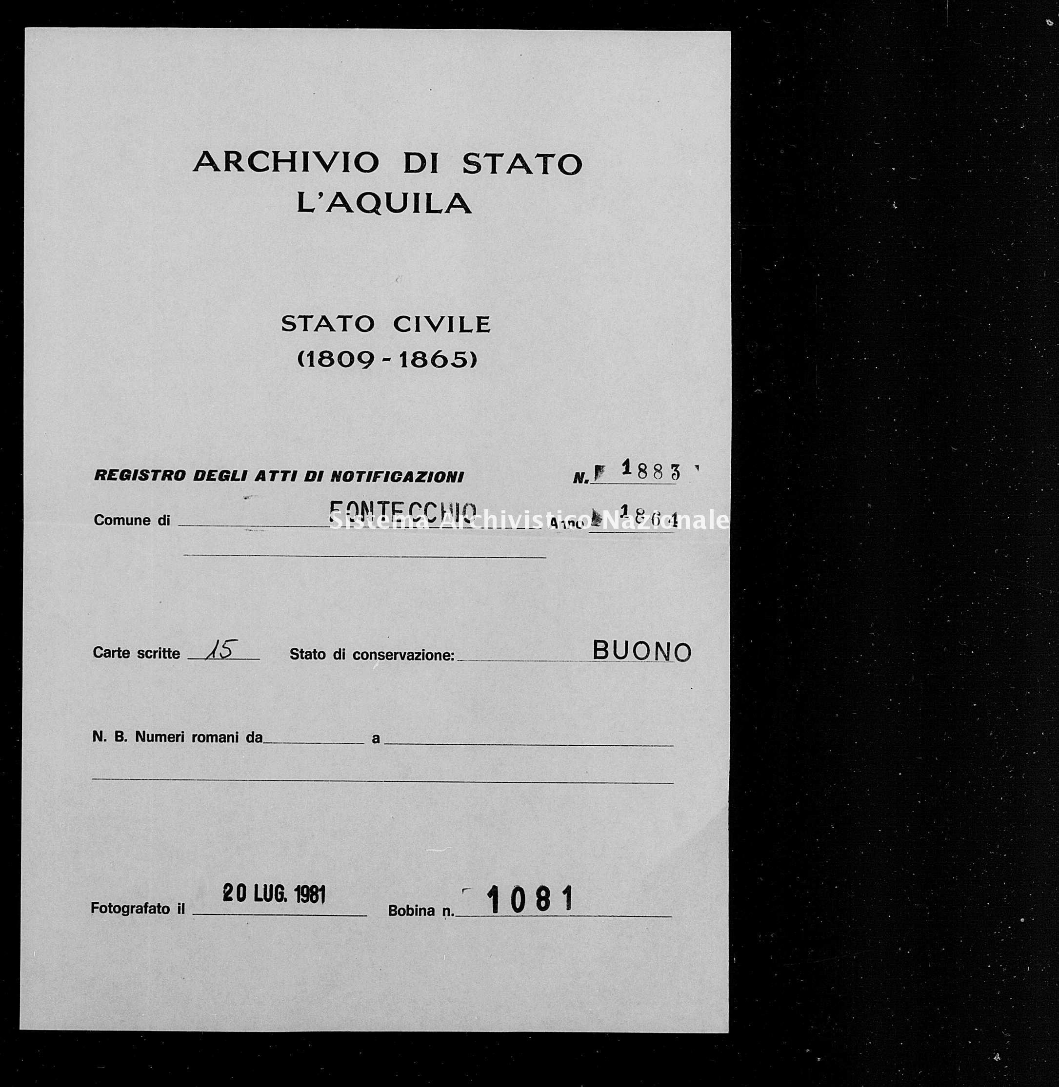 Archivio di stato di L'aquila - Stato civile italiano - Fontecchio - Matrimoni, memorandum notificazioni ed opposizioni - 1864 - 1883 -