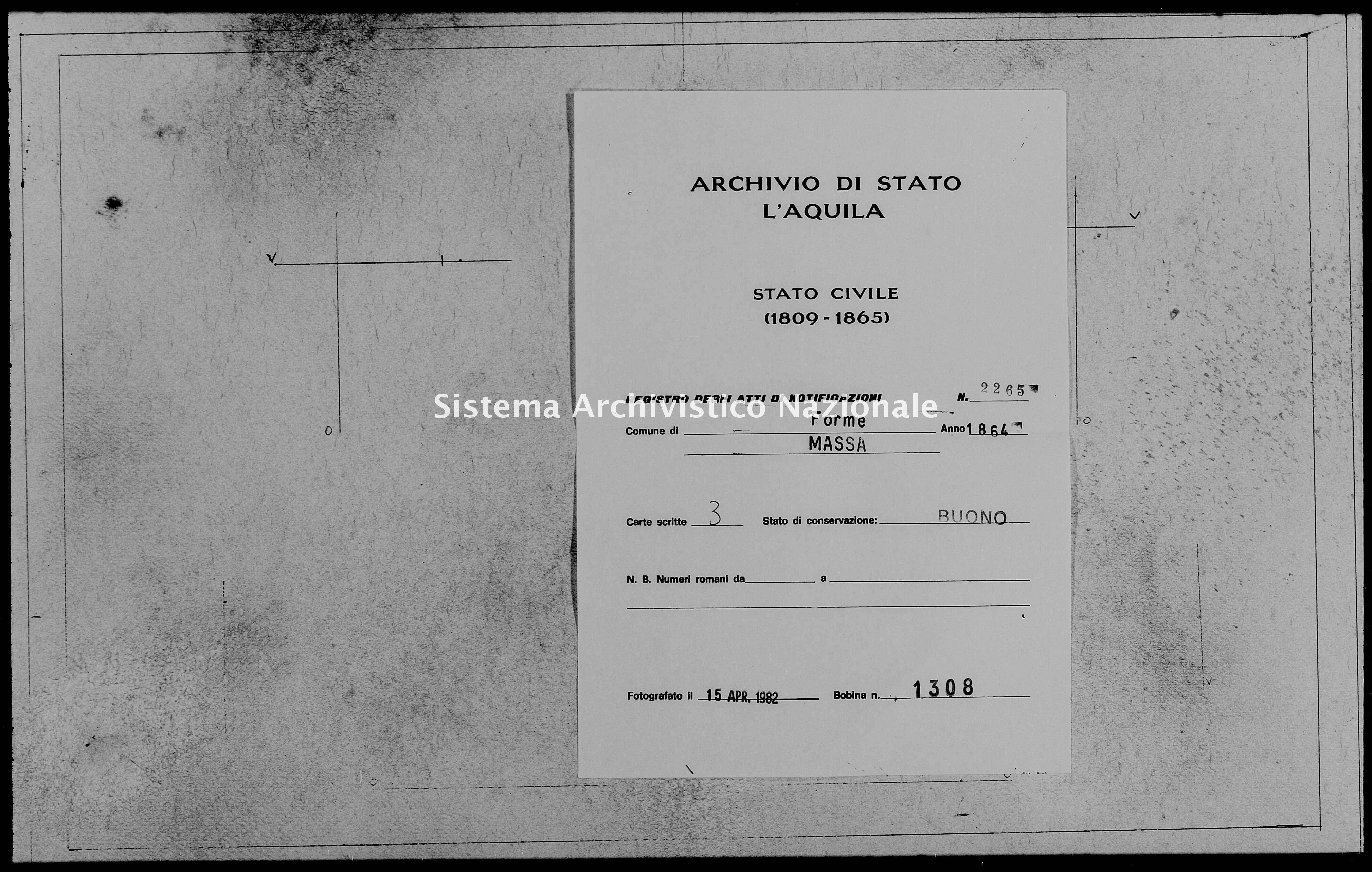 Archivio di stato di L'aquila - Stato civile italiano - Forme - Matrimoni, memorandum notificazioni ed opposizioni - 1864 - 2265 -
