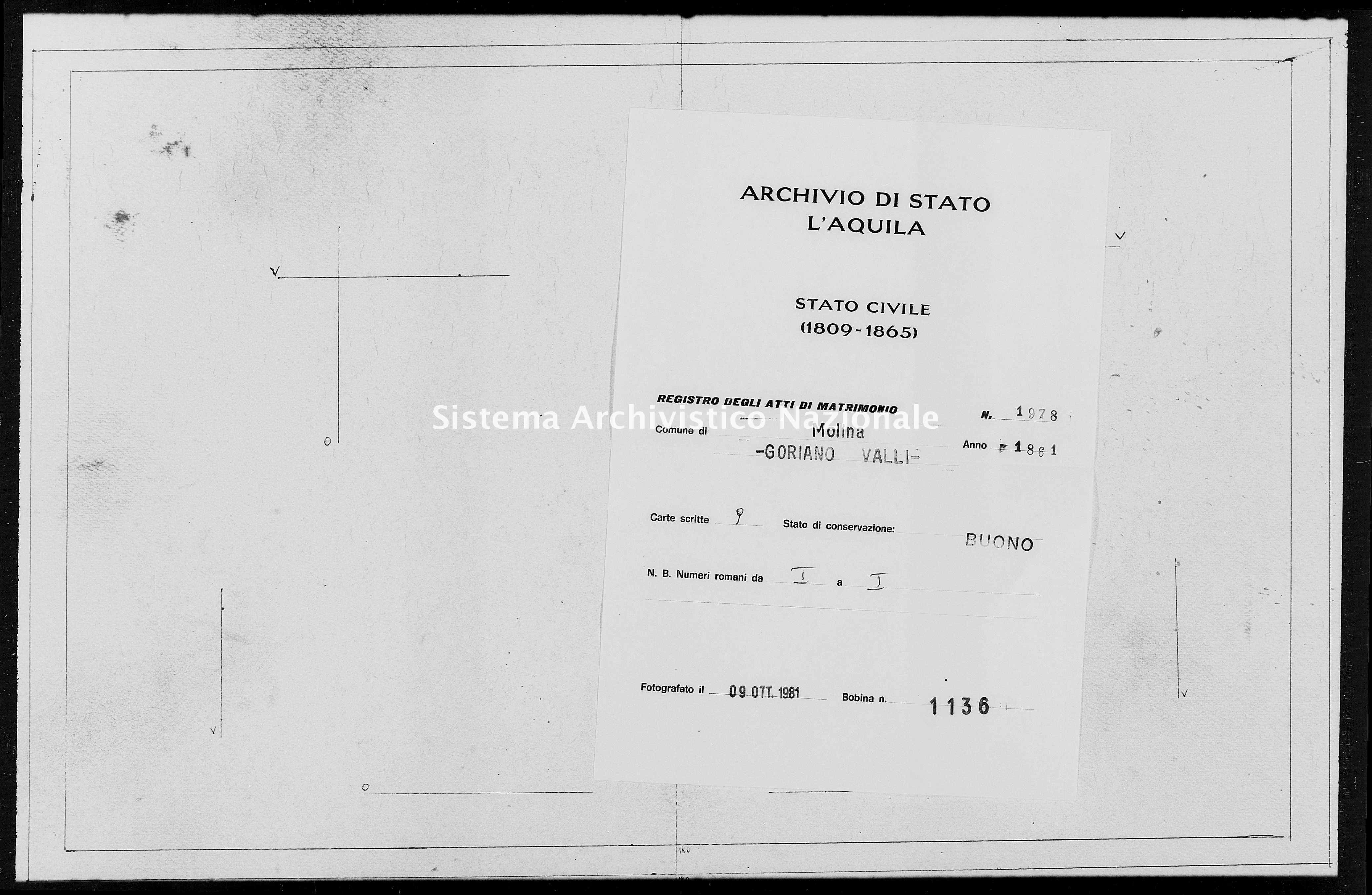 Archivio di stato di L'aquila - Stato civile italiano - Molina Aterno - Matrimoni - 1861 - 1978 -
