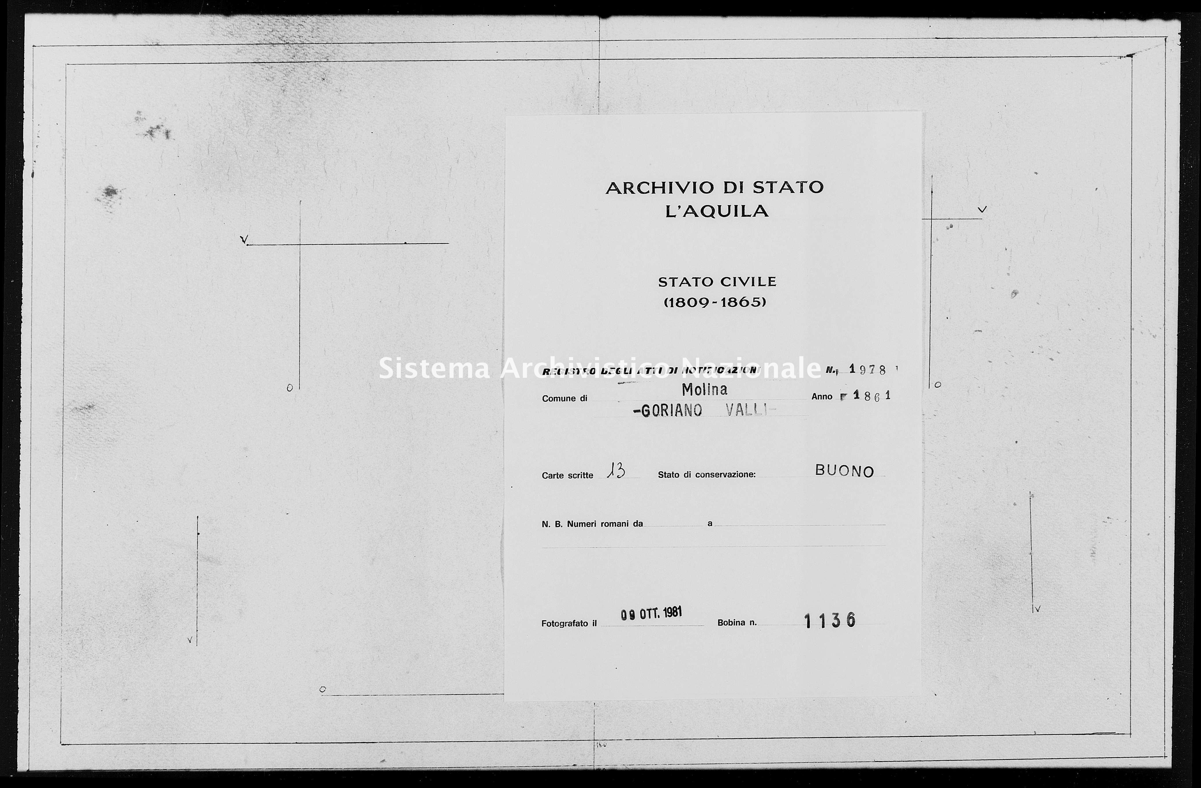 Archivio di stato di L'aquila - Stato civile italiano - Molina Aterno - Matrimoni, memorandum notificazioni ed opposizioni - 1861 - 1978 -