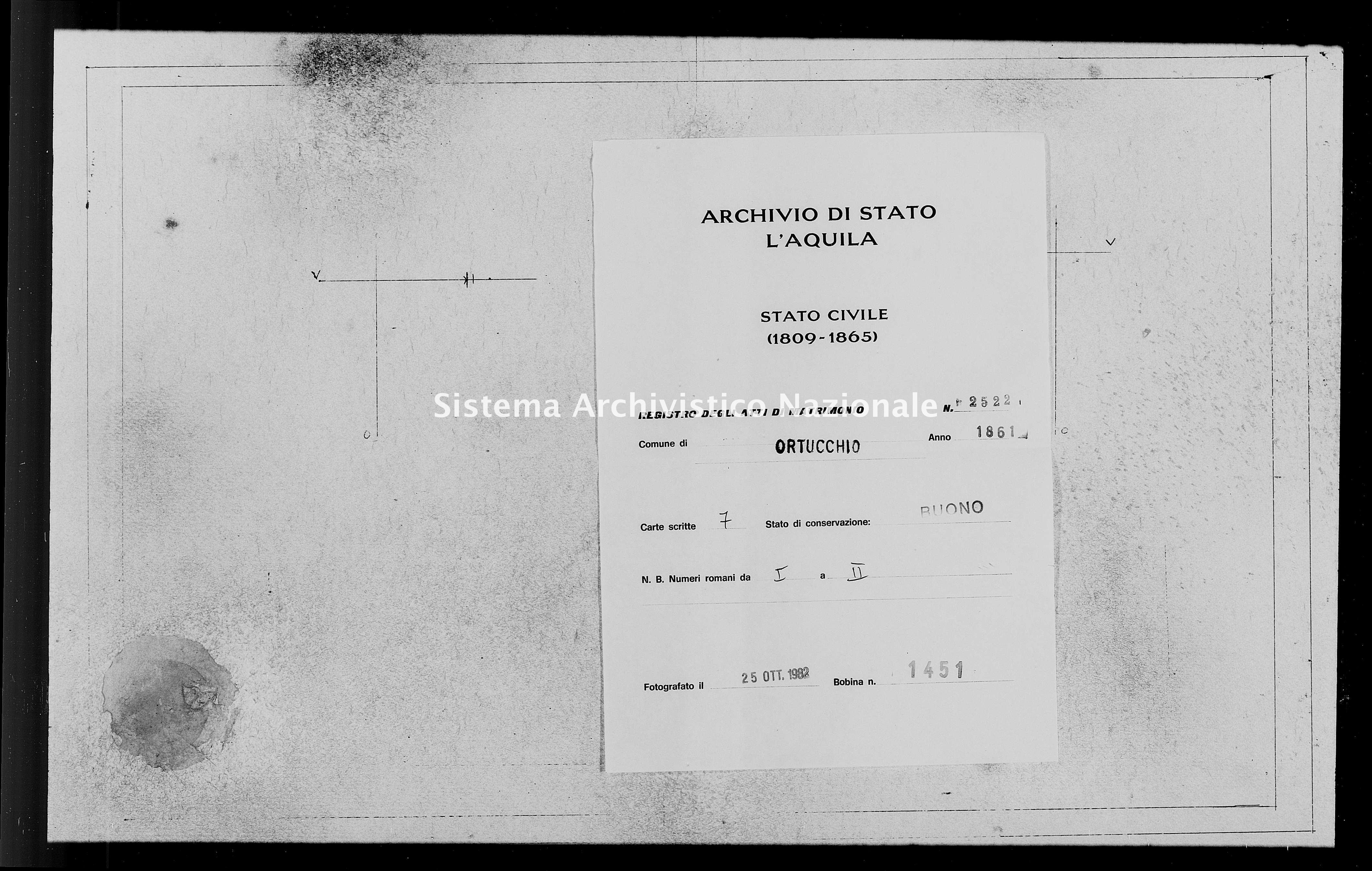 Archivio di stato di L'aquila - Stato civile italiano - Ortucchio - Matrimoni - 1861 - 2522 -