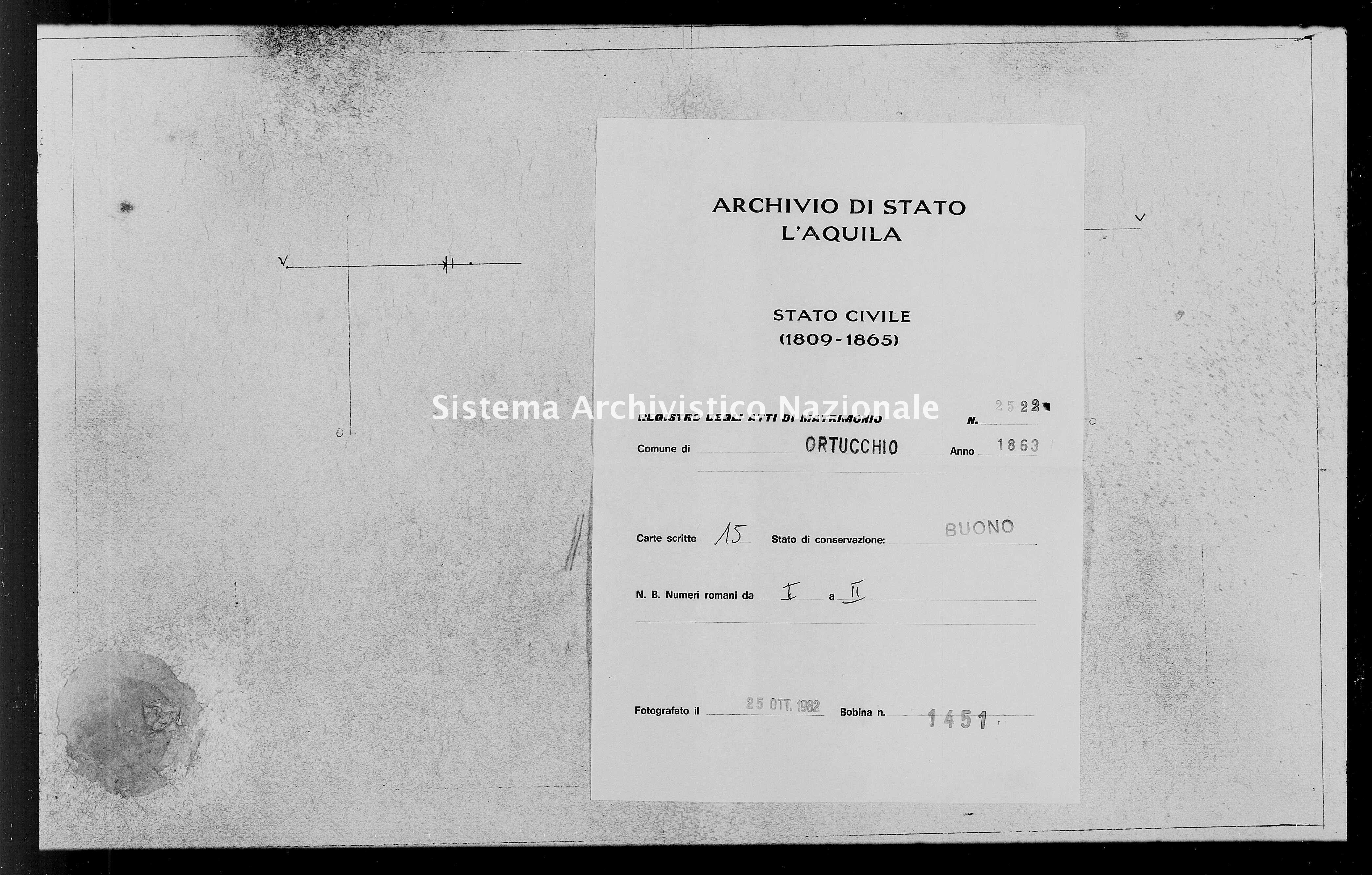Archivio di stato di L'aquila - Stato civile italiano - Ortucchio - Matrimoni - 1863 - 2522 -
