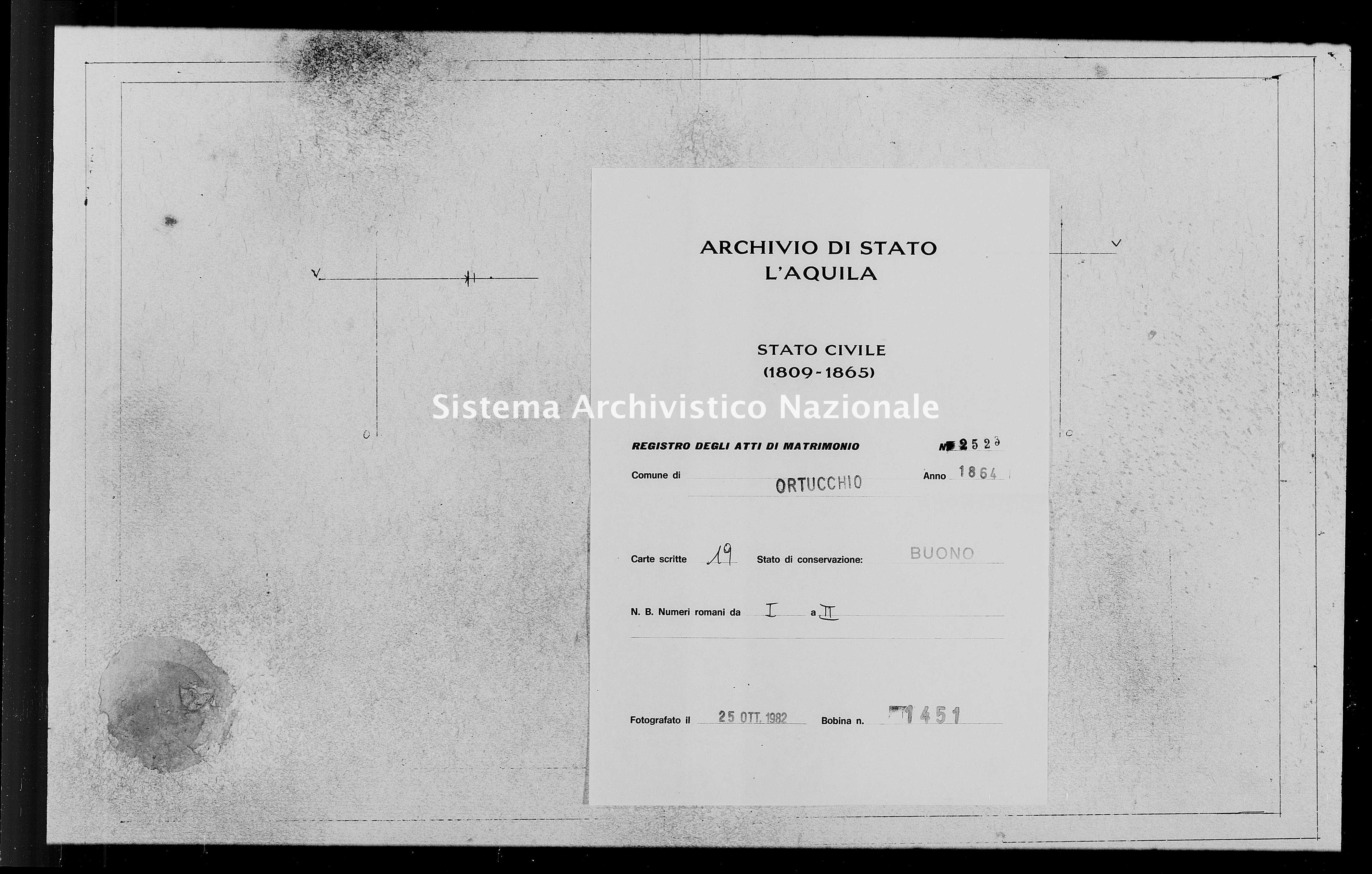 Archivio di stato di L'aquila - Stato civile italiano - Ortucchio - Matrimoni - 1864 - 2523 -