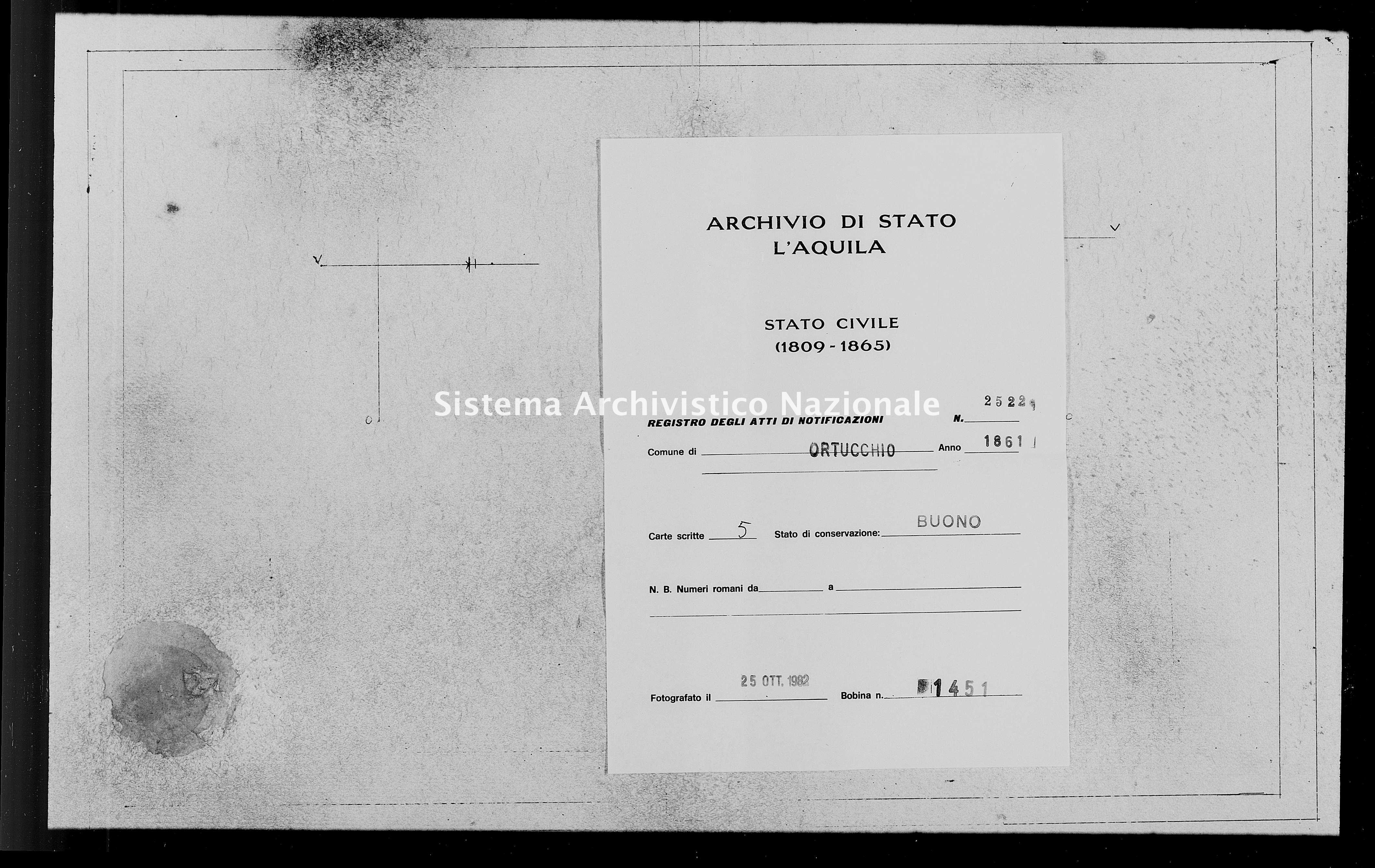 Archivio di stato di L'aquila - Stato civile italiano - Ortucchio - Matrimoni, memorandum notificazioni ed opposizioni - 1861 - 2522 -