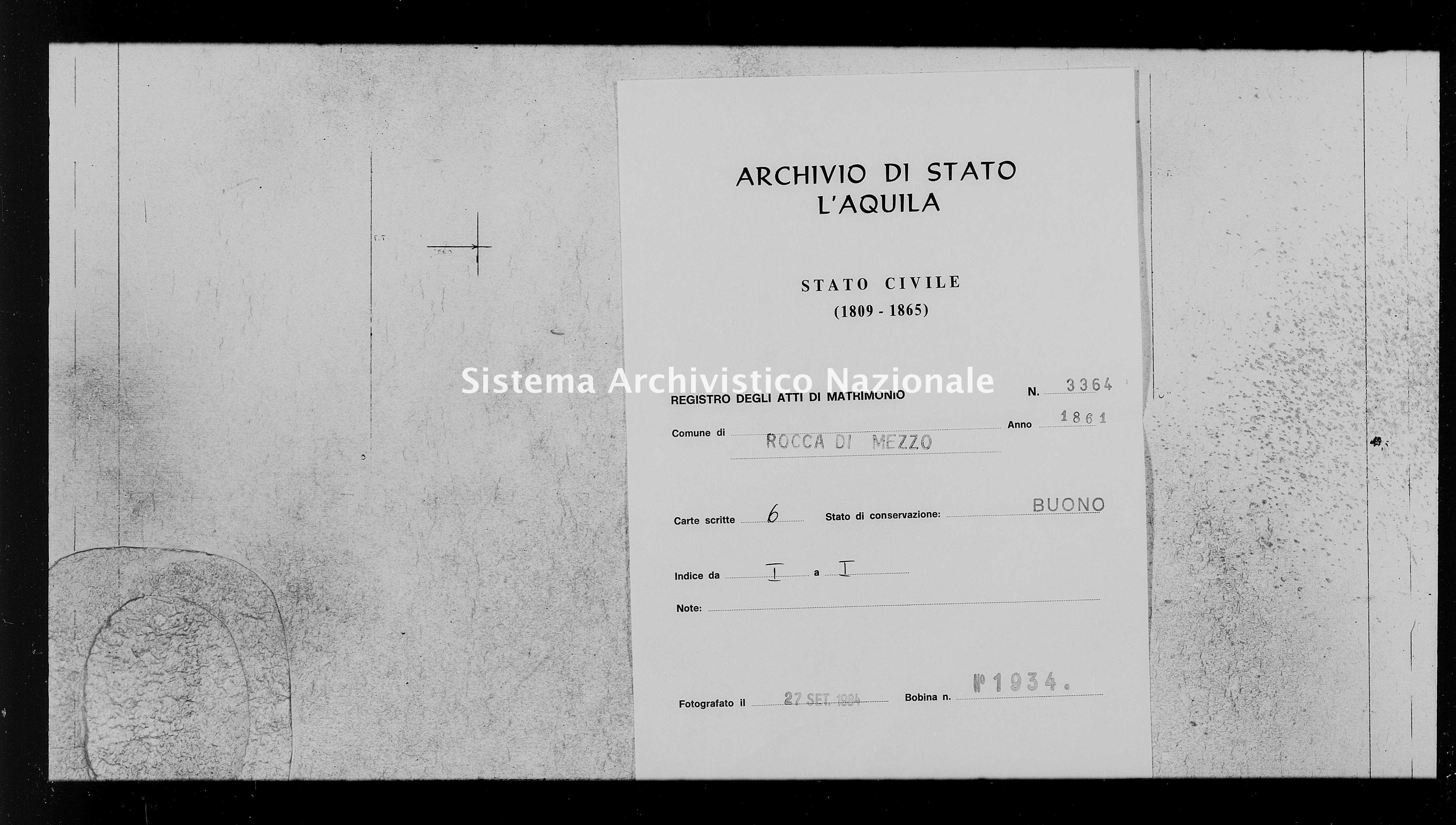 Archivio di stato di L'aquila - Stato civile italiano - Rocca di Mezzo - Matrimoni - 1861 - 3364 -