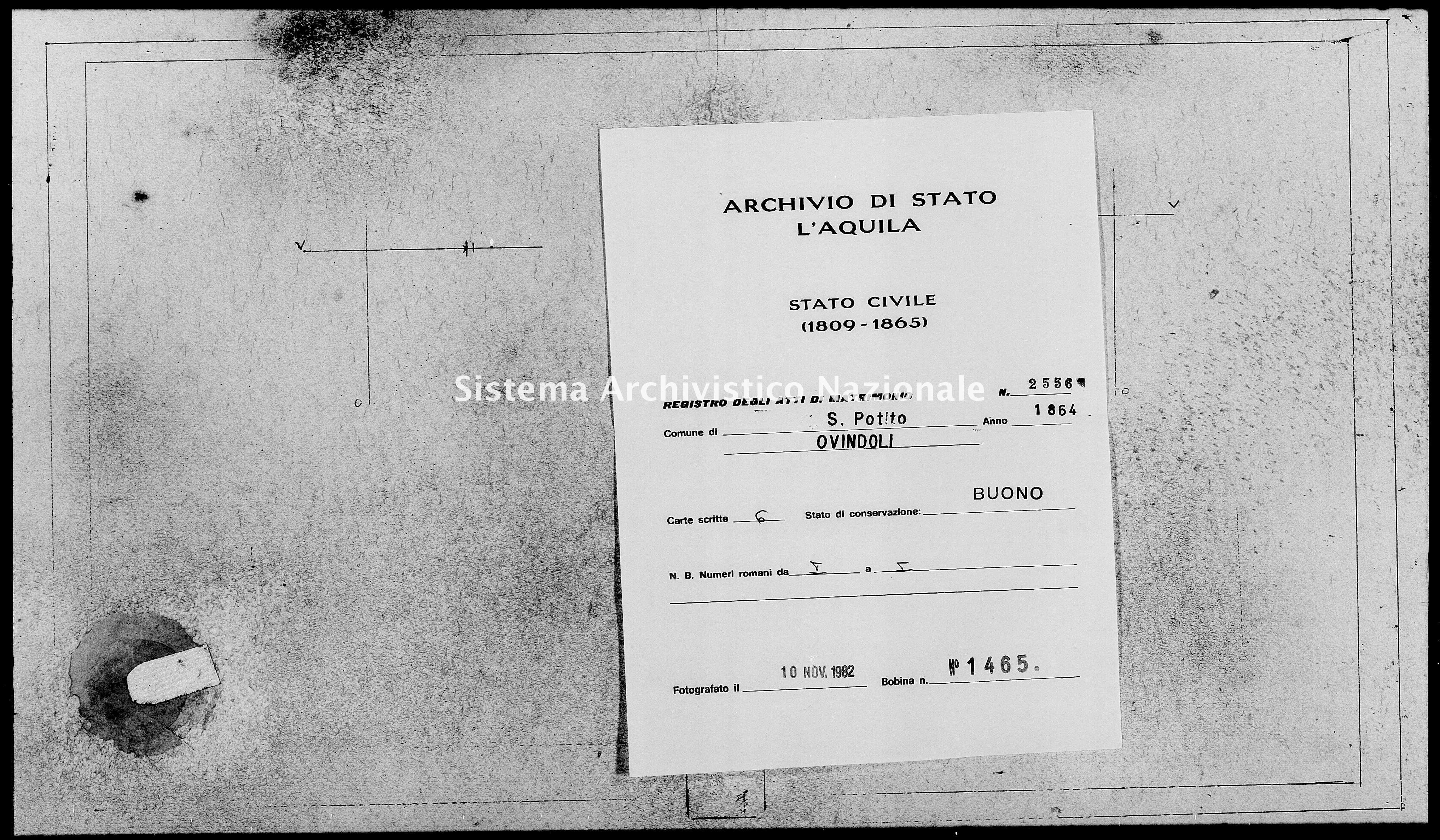 Archivio di stato di L'aquila - Stato civile italiano - San Potito - Matrimoni - 1864 - 2556 -