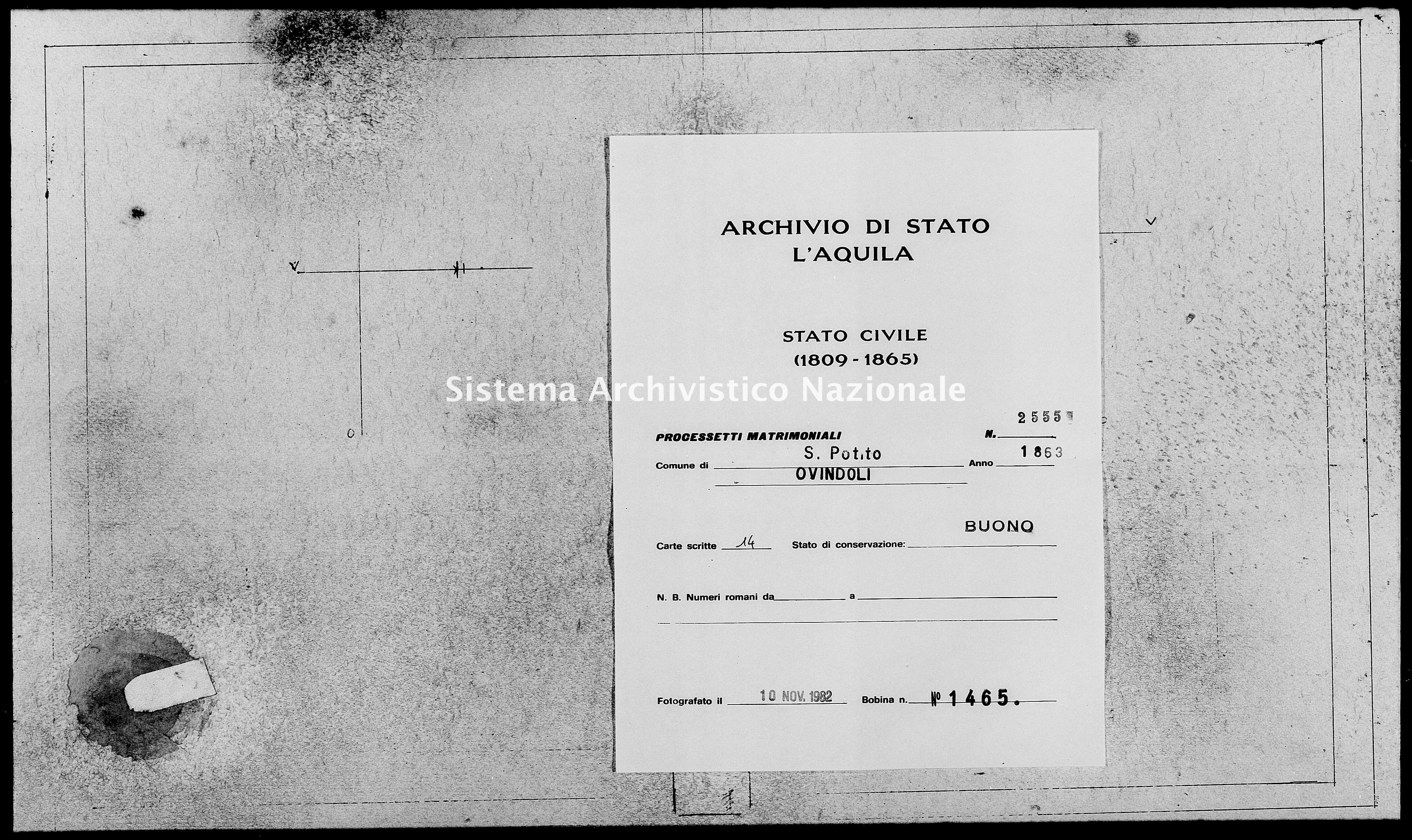 Archivio di stato di L'aquila - Stato civile italiano - San Potito - Matrimoni, processetti - 1863 - 2555 -
