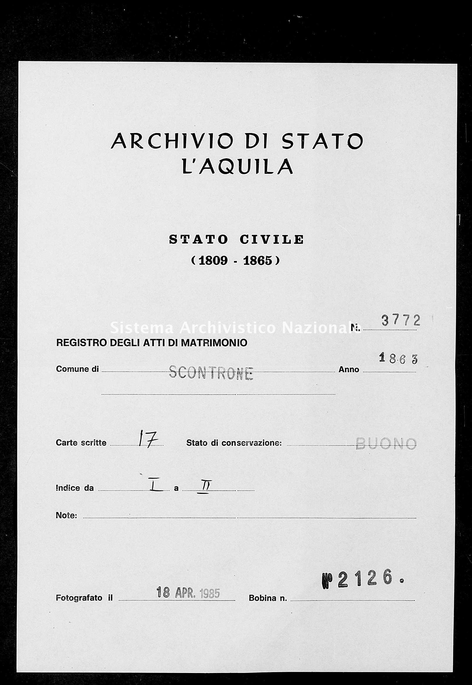 Archivio di stato di L'aquila - Stato civile italiano - Scontrone - Matrimoni - 1863 - 3772 -