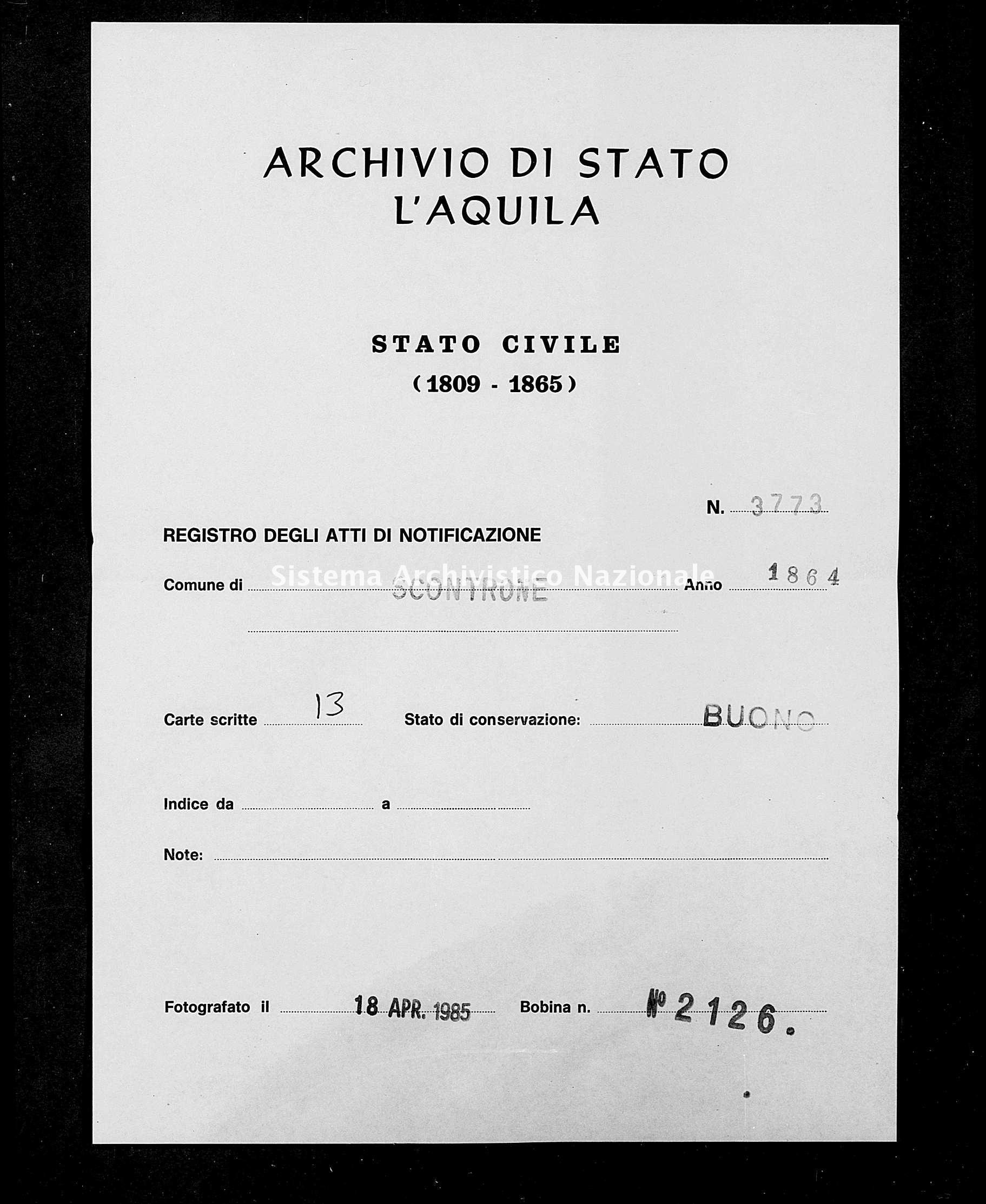 Archivio di stato di L'aquila - Stato civile italiano - Scontrone - Matrimoni, memorandum notificazioni ed opposizioni - 1864 - 3773 -