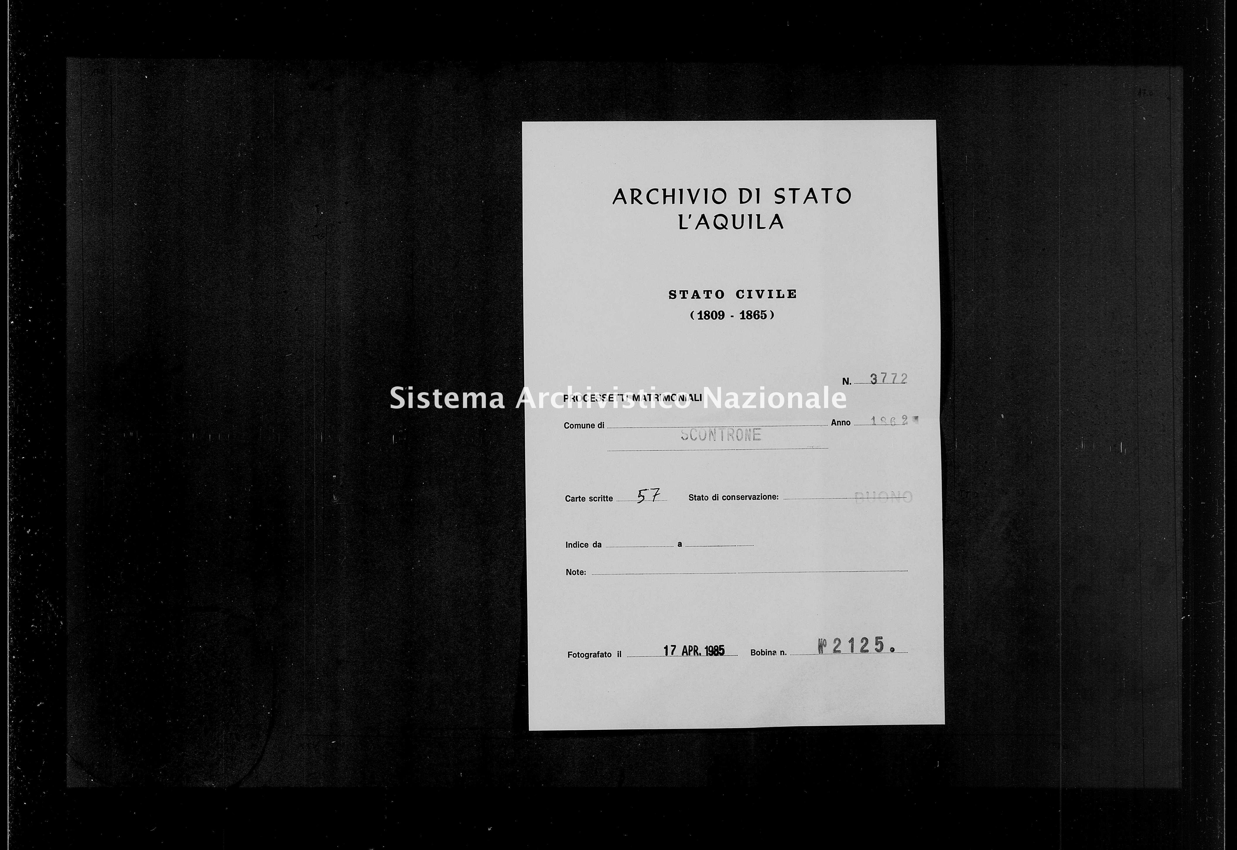 Archivio di stato di L'aquila - Stato civile italiano - Scontrone - Matrimoni, processetti - 1862 - 3772 -