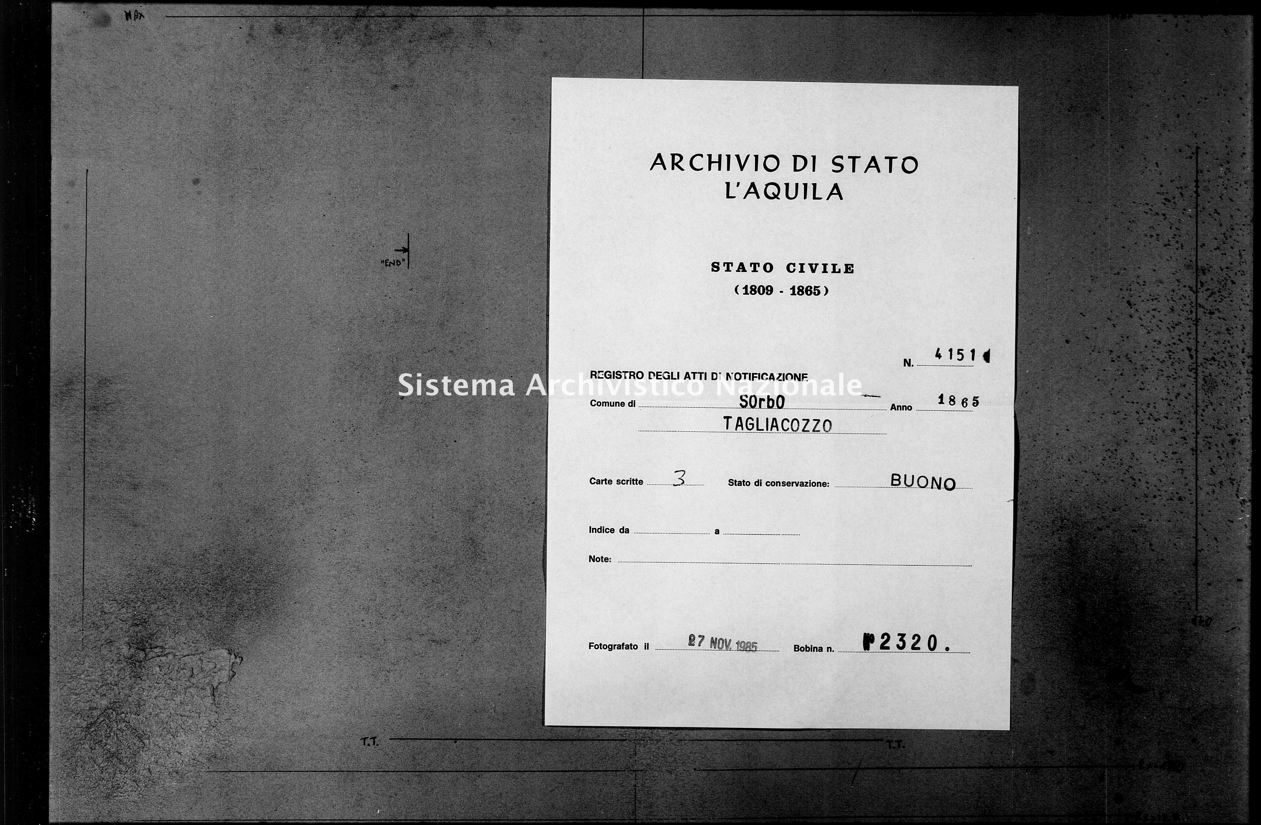 Archivio di stato di L'aquila - Stato civile italiano - Sorbo - Matrimoni - 1865 - 4151 -
