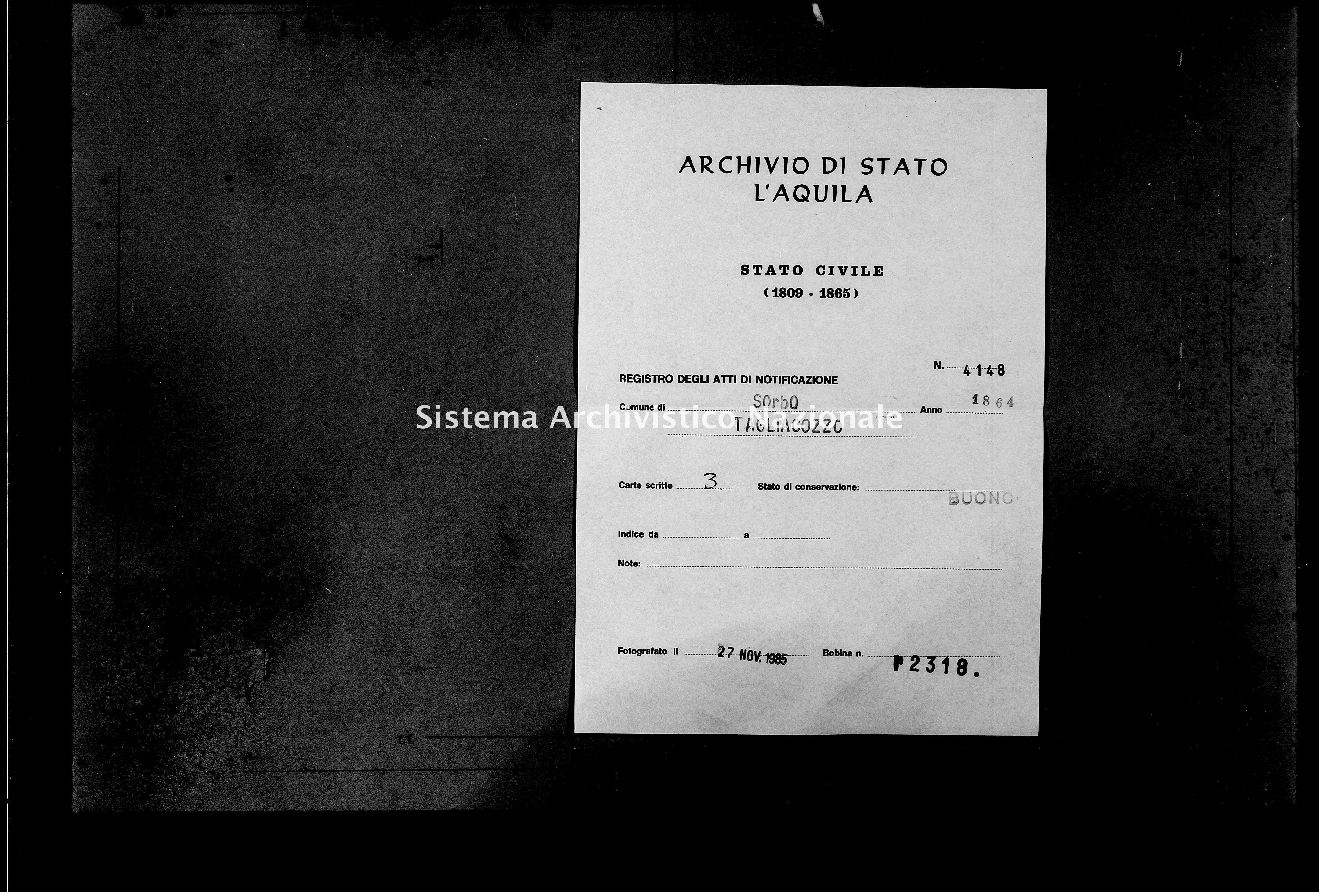 Archivio di stato di L'aquila - Stato civile italiano - Sorbo - Matrimoni, memorandum notificazioni ed opposizioni - 1864 - 4148 -