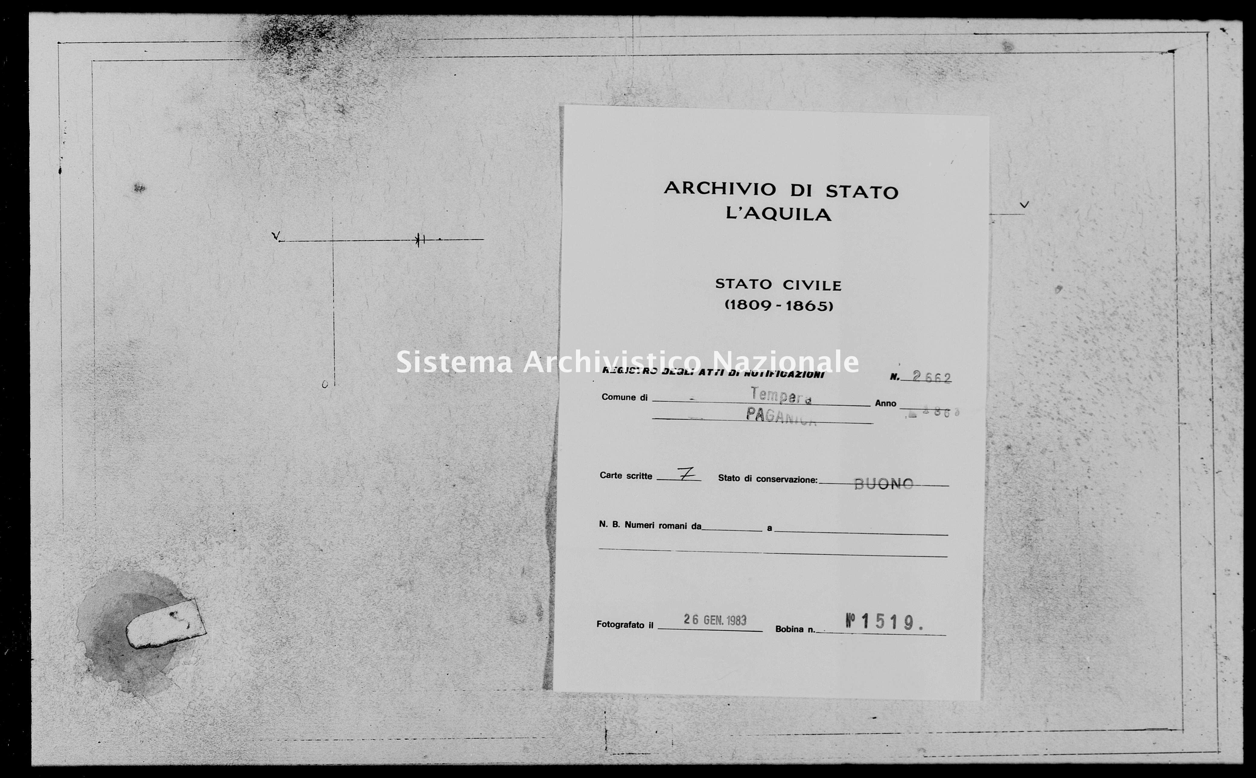 Archivio di stato di L'aquila - Stato civile italiano - Tempera - Matrimoni, memorandum notificazioni ed opposizioni - 1863 - 2662 -