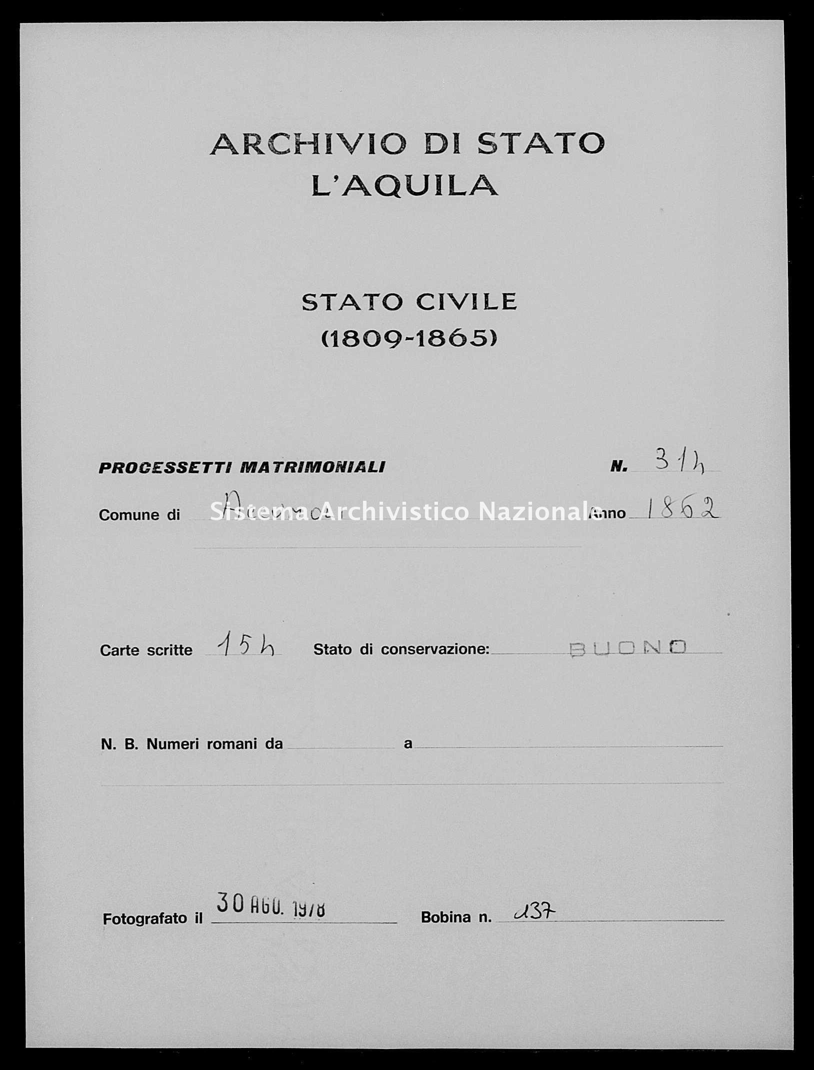 Archivio di stato di L'aquila - Stato civile italiano - Accumoli - Matrimoni, processetti - 1862 - 314 -