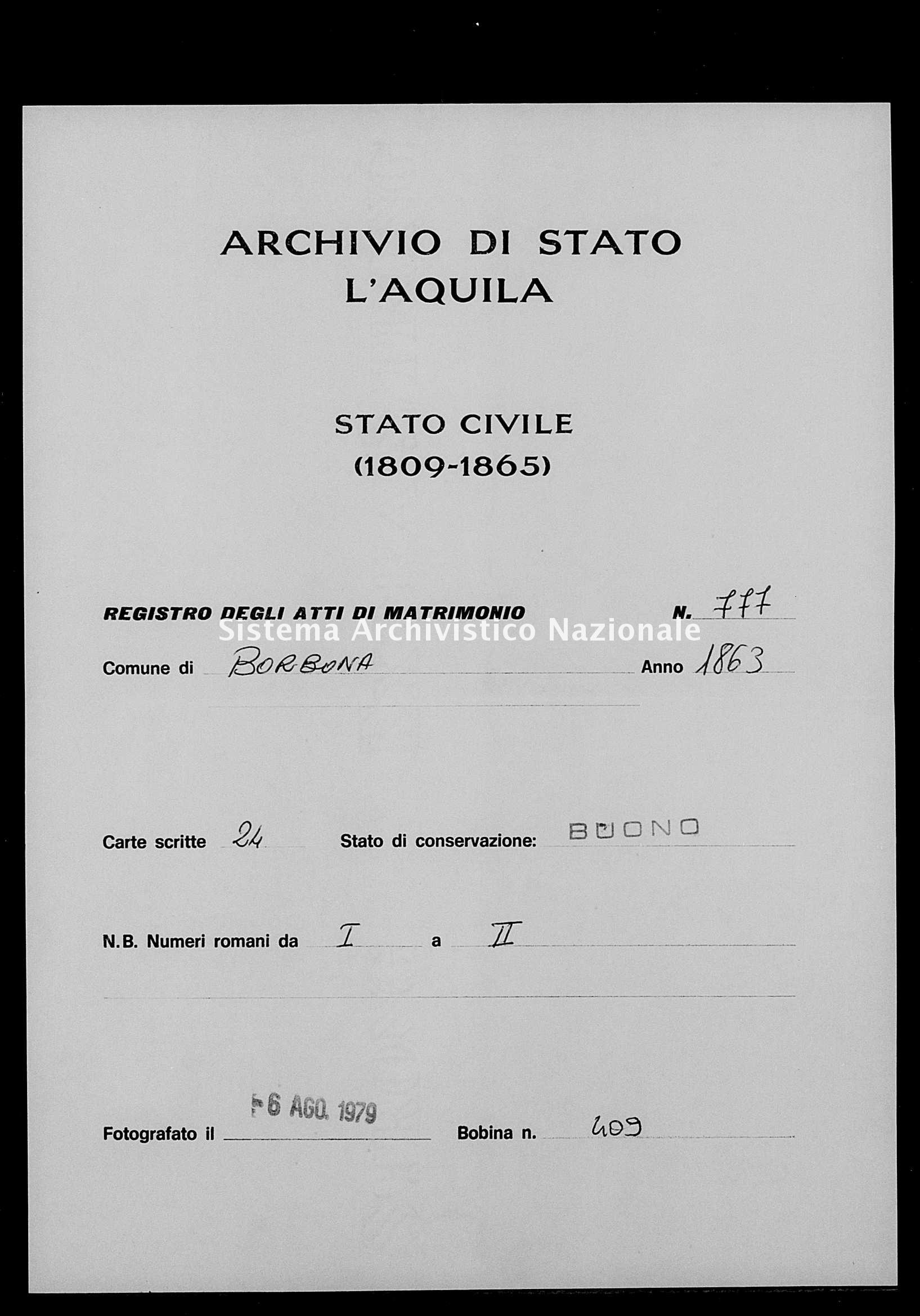Archivio di stato di L'aquila - Stato civile italiano - Borbona - Matrimoni - 1863 - 777 -