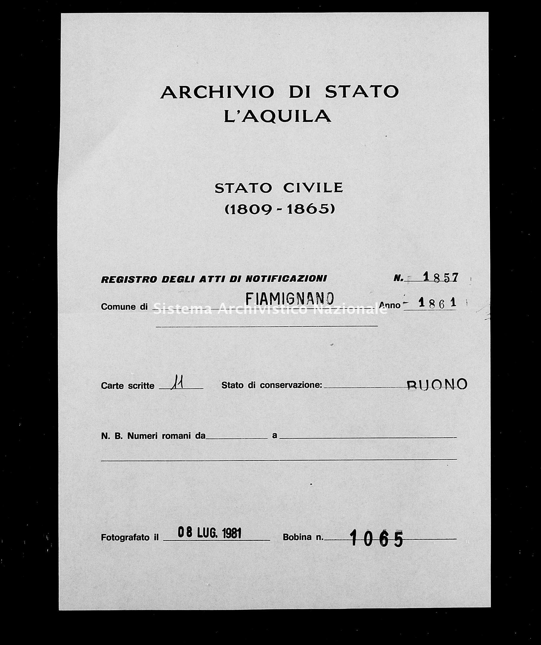 Archivio di stato di L'aquila - Stato civile italiano - Fiamignano - Matrimoni, memorandum notificazioni ed opposizioni - 1861 - 1857 -