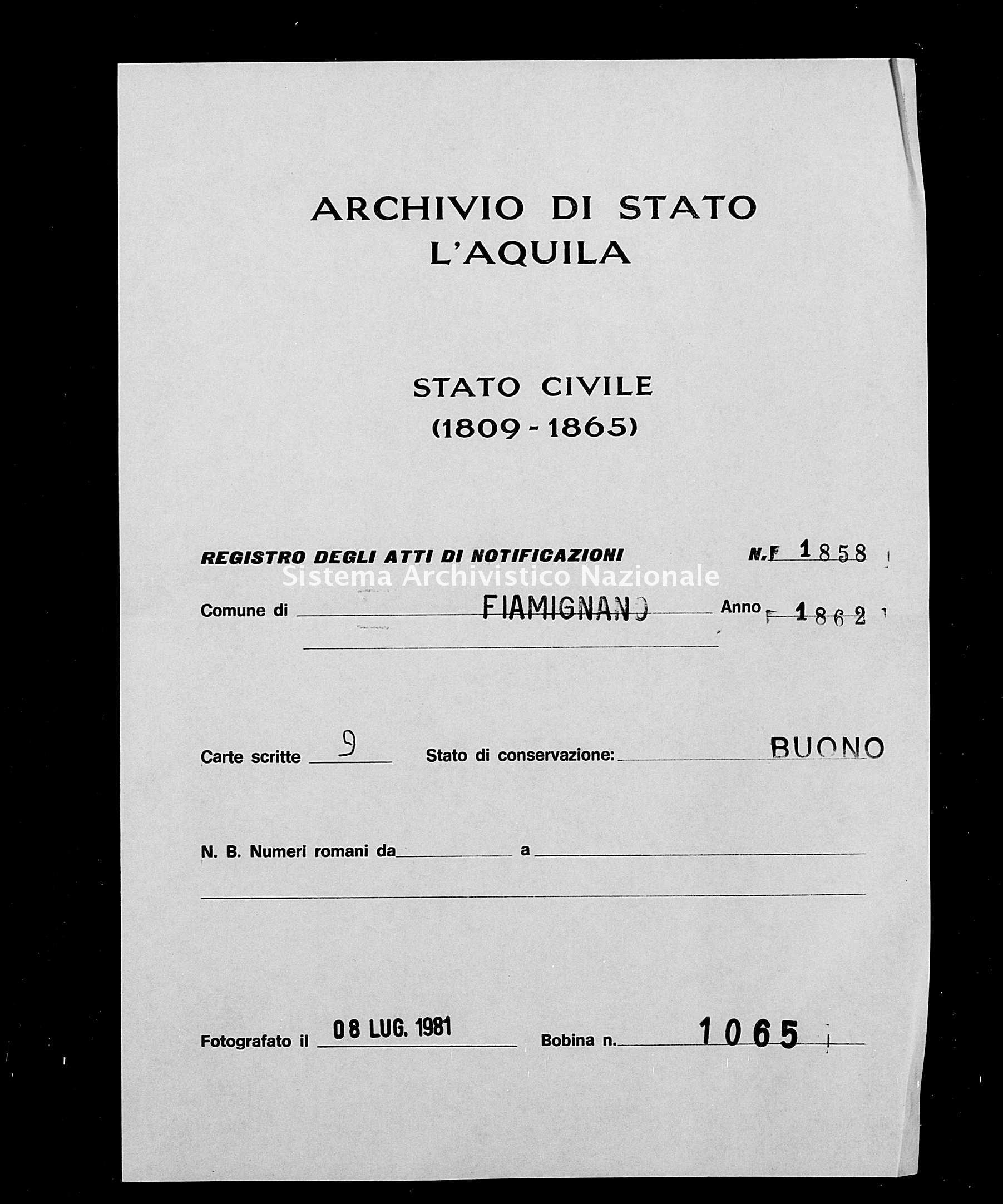 Archivio di stato di L'aquila - Stato civile italiano - Fiamignano - Matrimoni, memorandum notificazioni ed opposizioni - 1862 - 1858 -