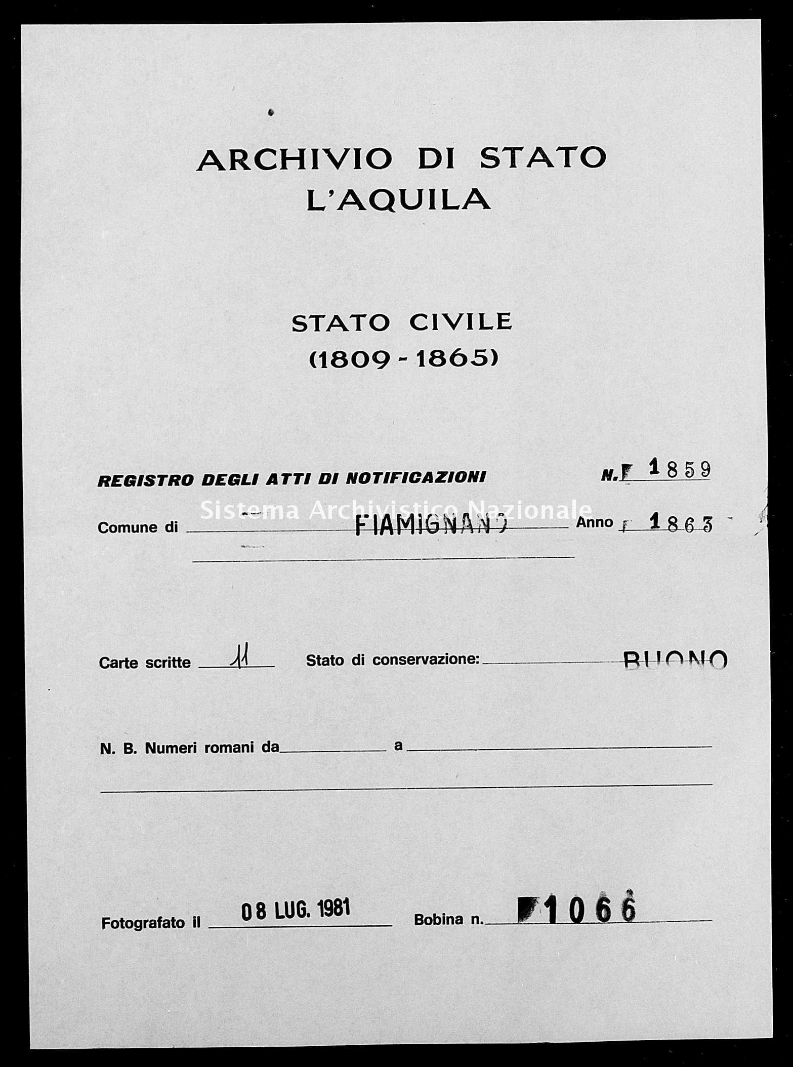Archivio di stato di L'aquila - Stato civile italiano - Fiamignano - Matrimoni, memorandum notificazioni ed opposizioni - 1863 - 1859 -