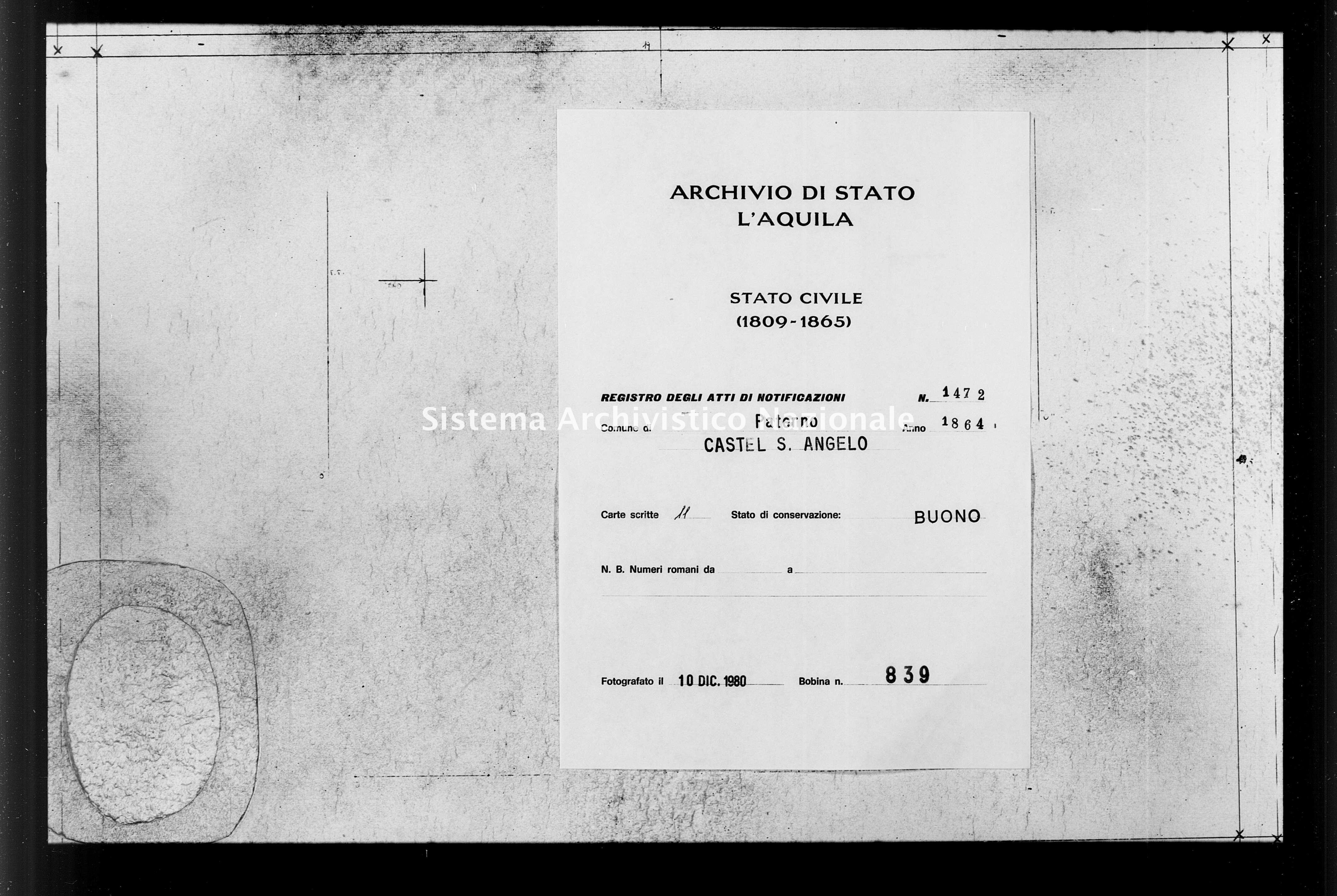 Archivio di stato di L'aquila - Stato civile italiano - Paterno - Matrimoni, memorandum notificazioni ed opposizioni - 1864 - 1472 -