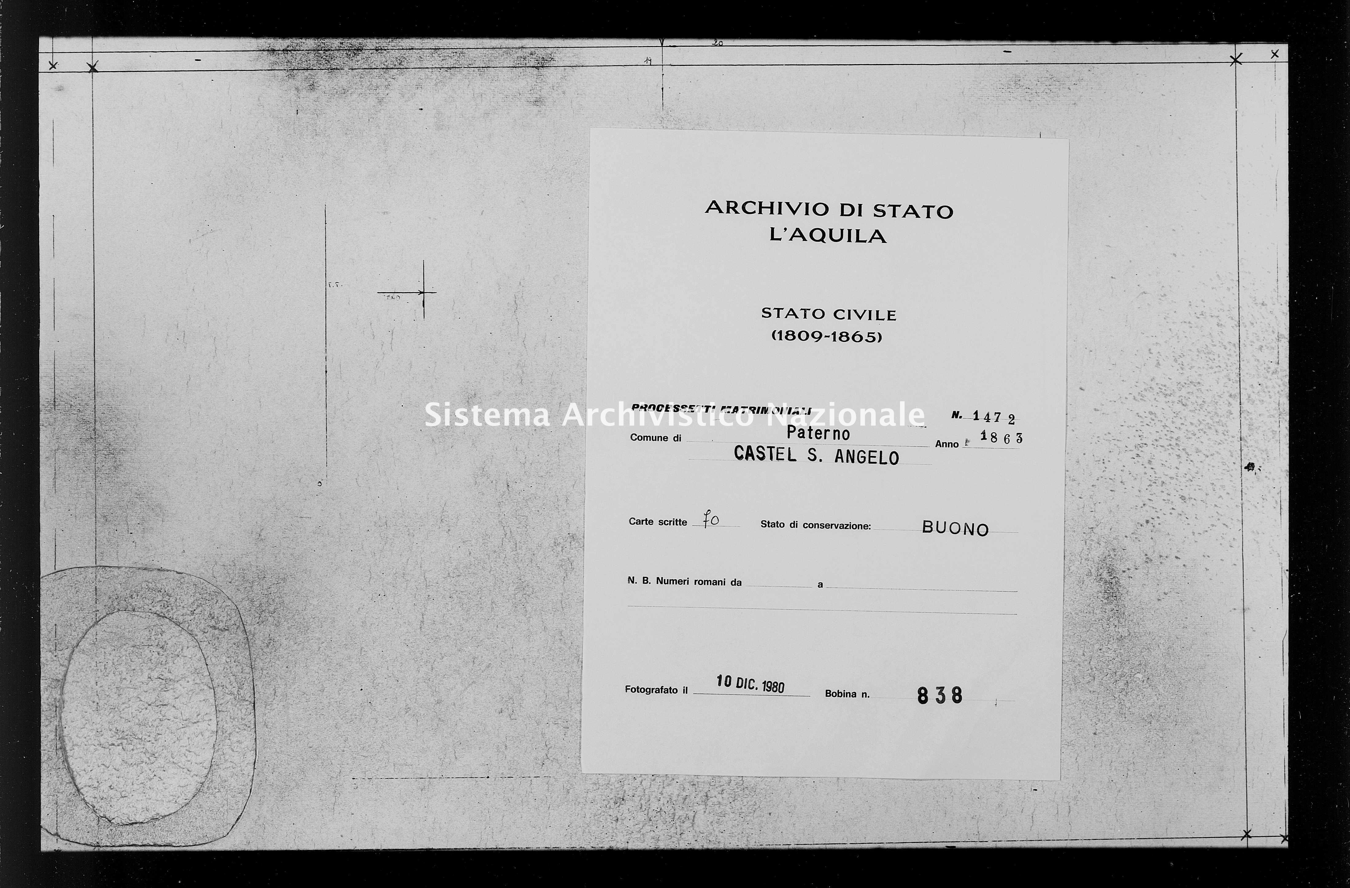 Archivio di stato di L'aquila - Stato civile italiano - Paterno - Matrimoni, processetti - 1863 - 1472 -