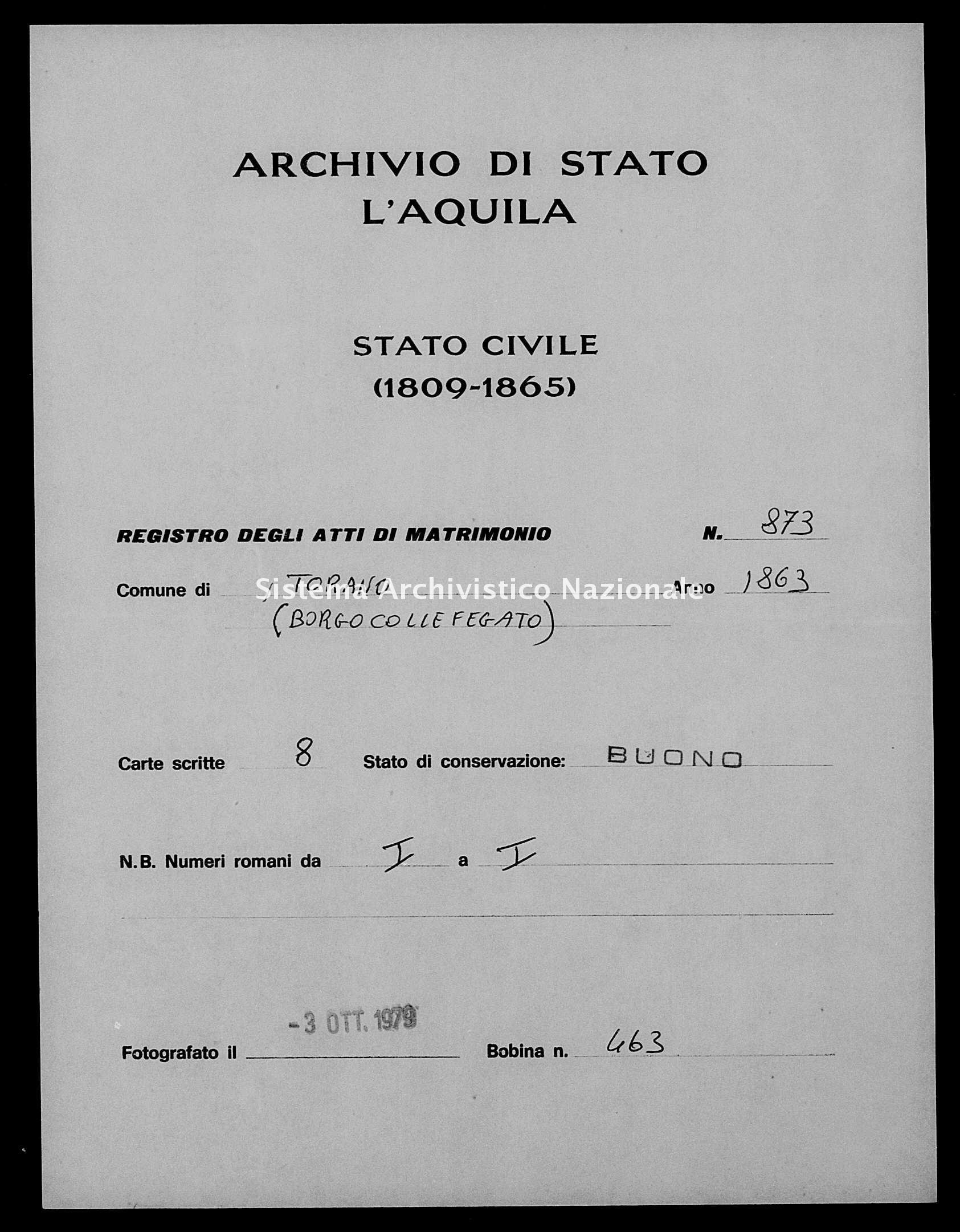 Archivio di stato di L'aquila - Stato civile italiano - Torano - Matrimoni - 1863 - 873 -