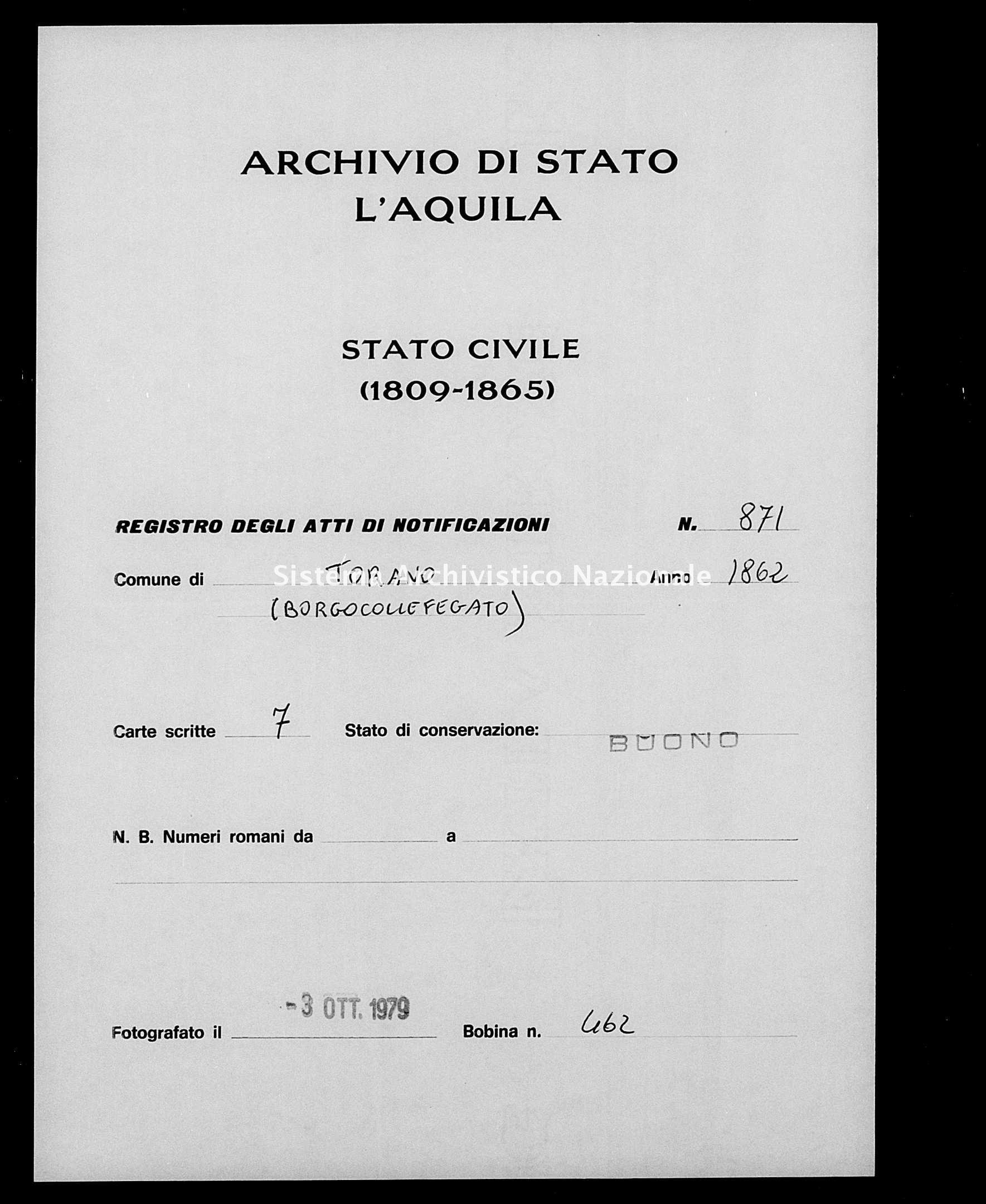 Archivio di stato di L'aquila - Stato civile italiano - Torano - Matrimoni, memorandum notificazioni ed opposizioni - 1862 - 871 -