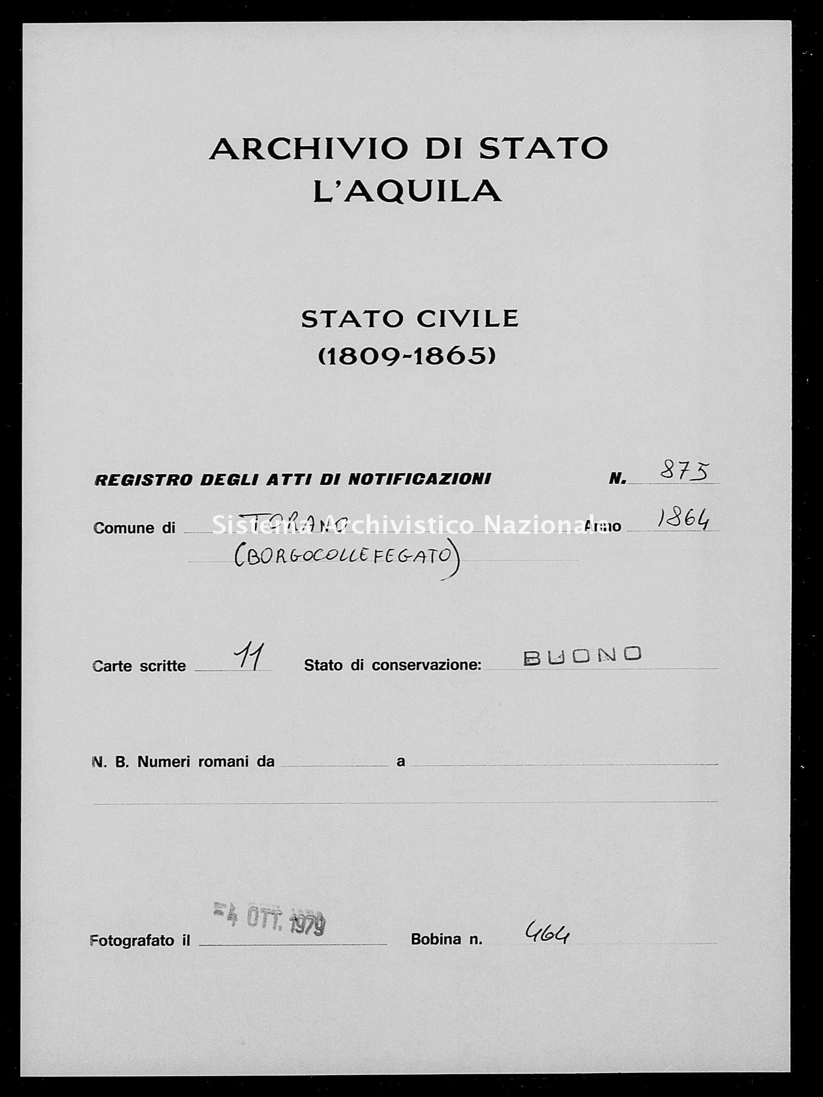 Archivio di stato di L'aquila - Stato civile italiano - Torano - Matrimoni, memorandum notificazioni ed opposizioni - 1864 - 875 -