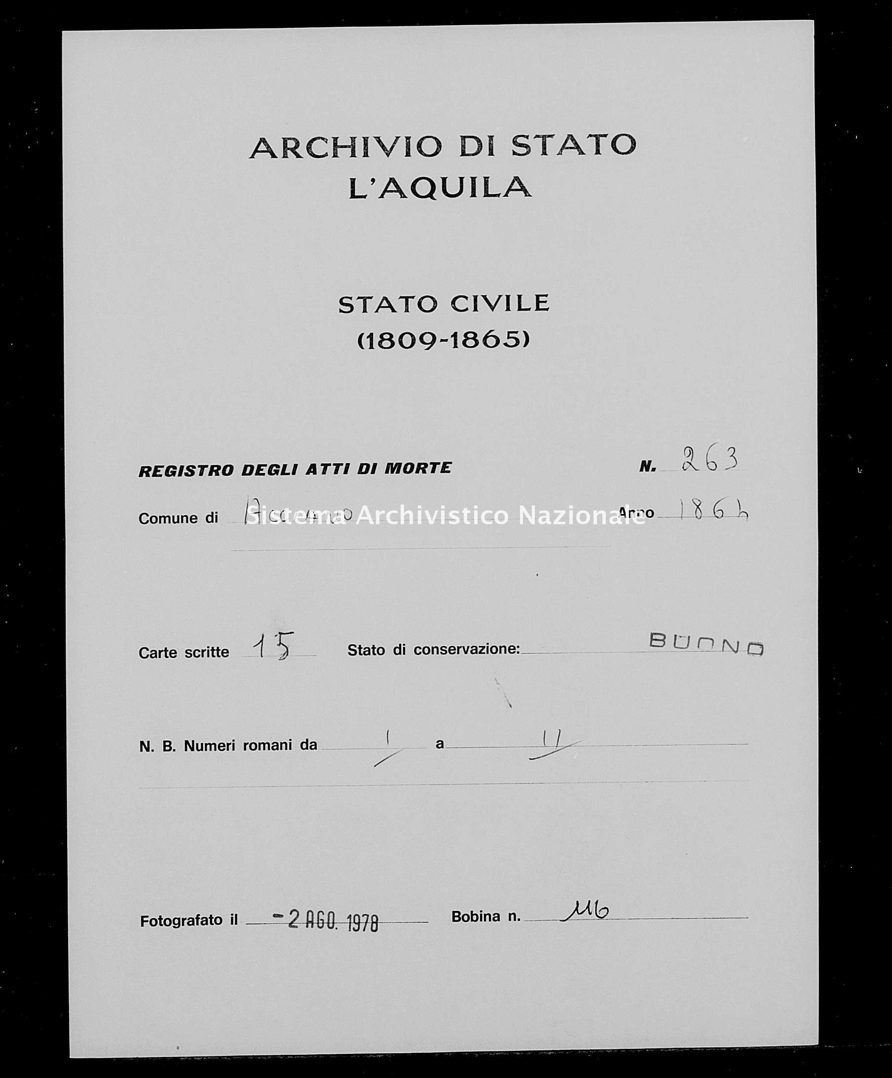 Archivio di stato di L'aquila - Stato civile italiano - Acciano - Morti - 1864 - 263 -