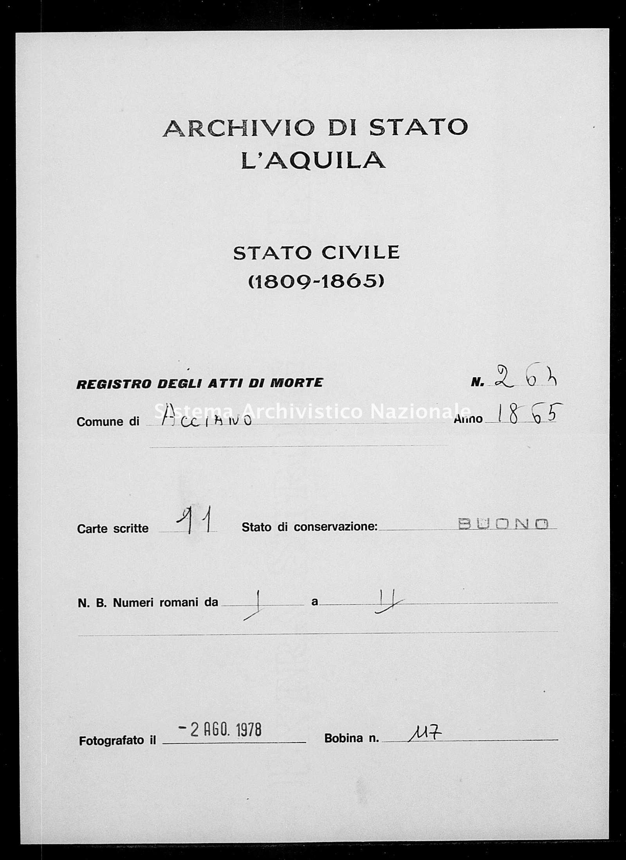 Archivio di stato di L'aquila - Stato civile italiano - Acciano - Morti - 1865 - 264 -
