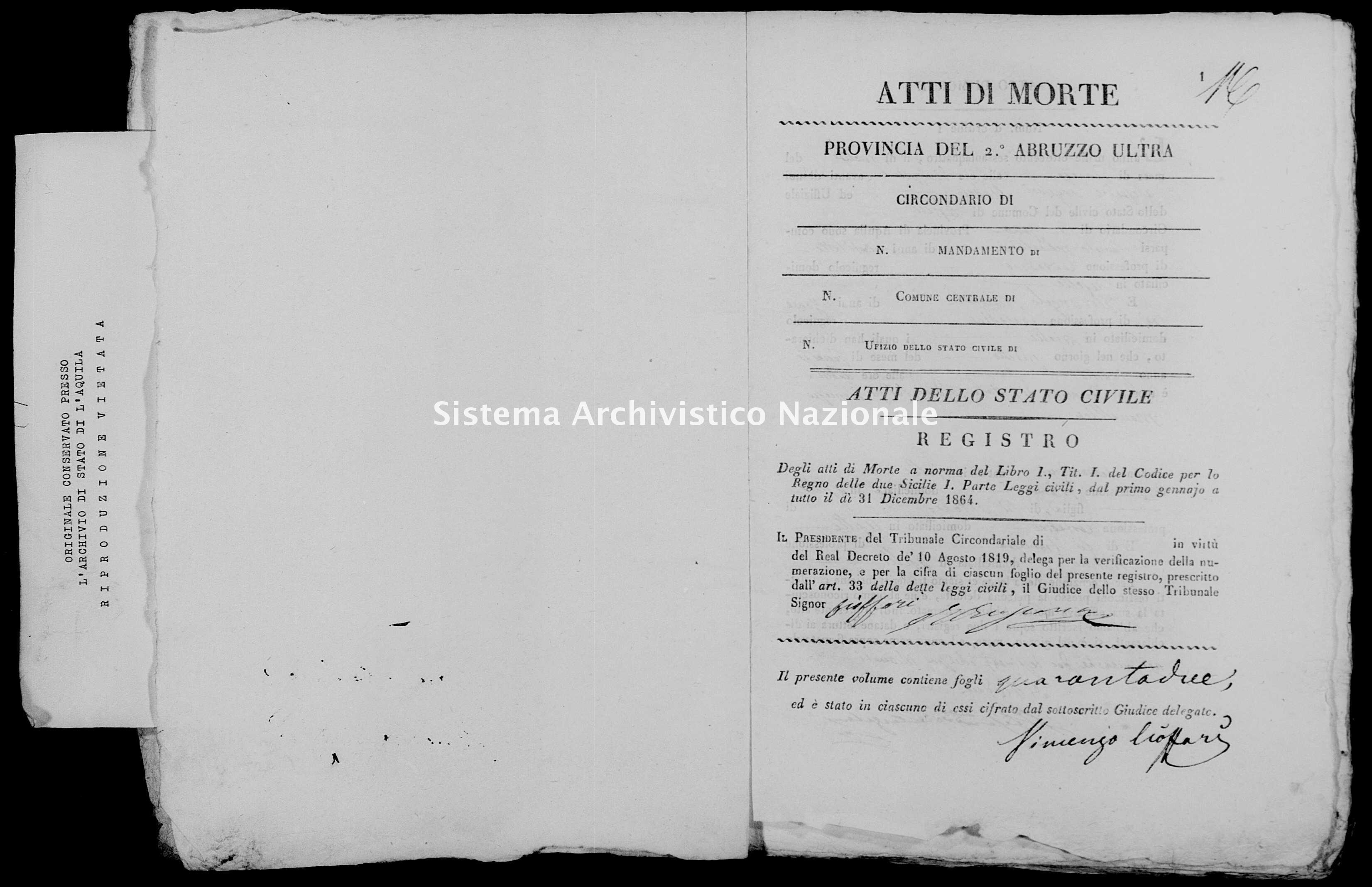 Archivio di stato di L'aquila - Stato civile italiano - Aielli - Morti - 1864 - 334 -