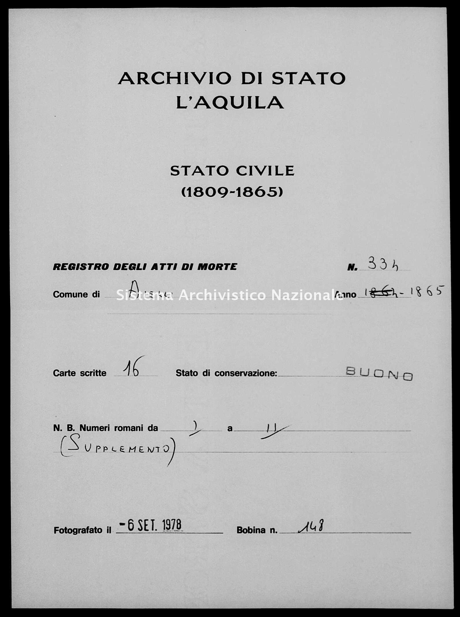 Archivio di stato di L'aquila - Stato civile italiano - Aielli - Morti - 1865 - 334 -
