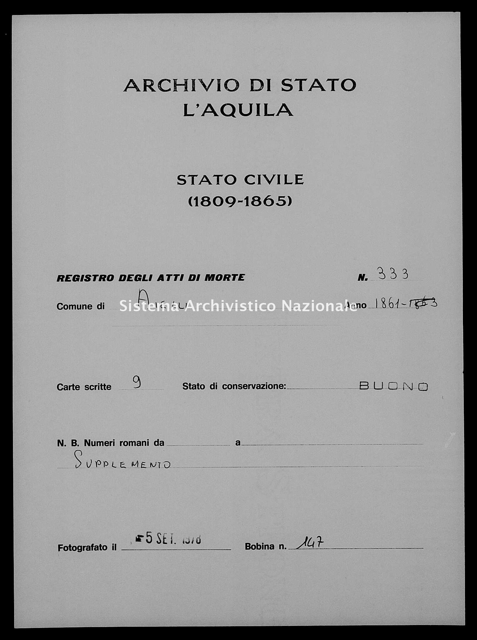 Archivio di stato di L'aquila - Stato civile italiano - Aielli - Morti - 29/10/1861-30/12/1861 - 333 -