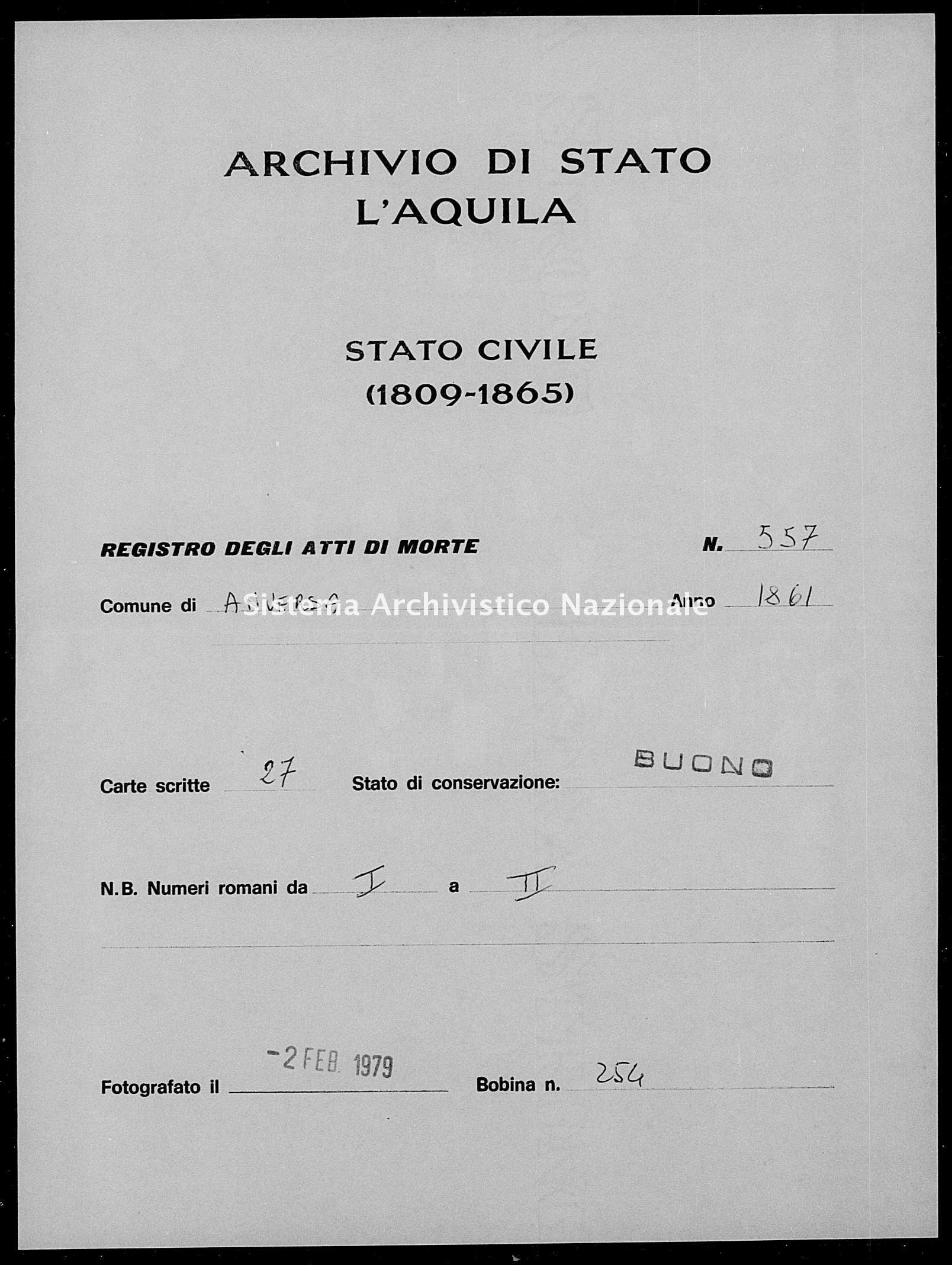 Archivio di stato di L'aquila - Stato civile italiano - Anversa degli Abruzzi - Morti - 1861 - 557 -
