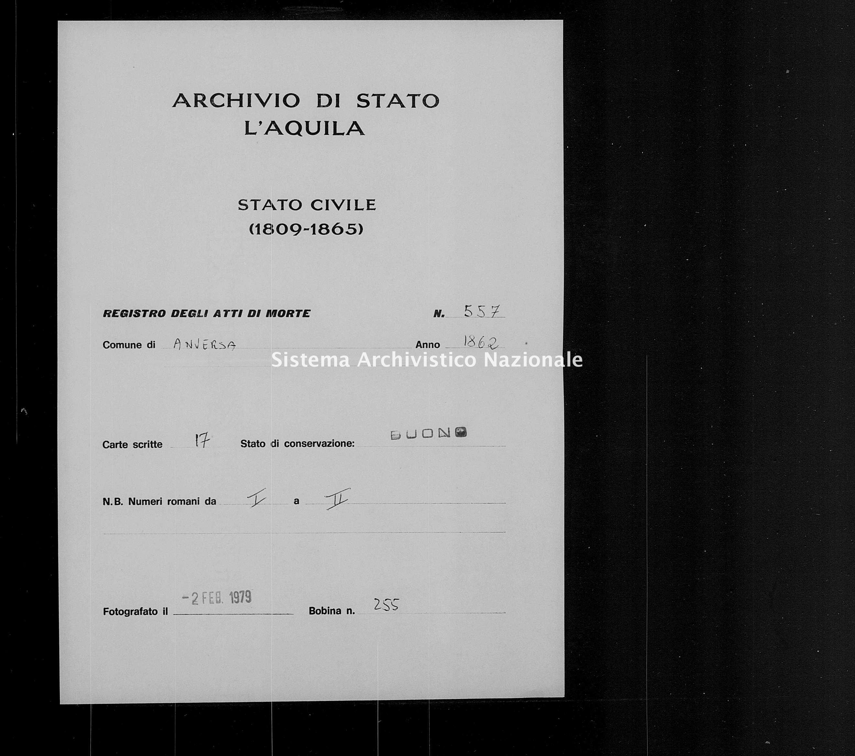 Archivio di stato di L'aquila - Stato civile italiano - Anversa degli Abruzzi - Morti - 1862 - 557 -
