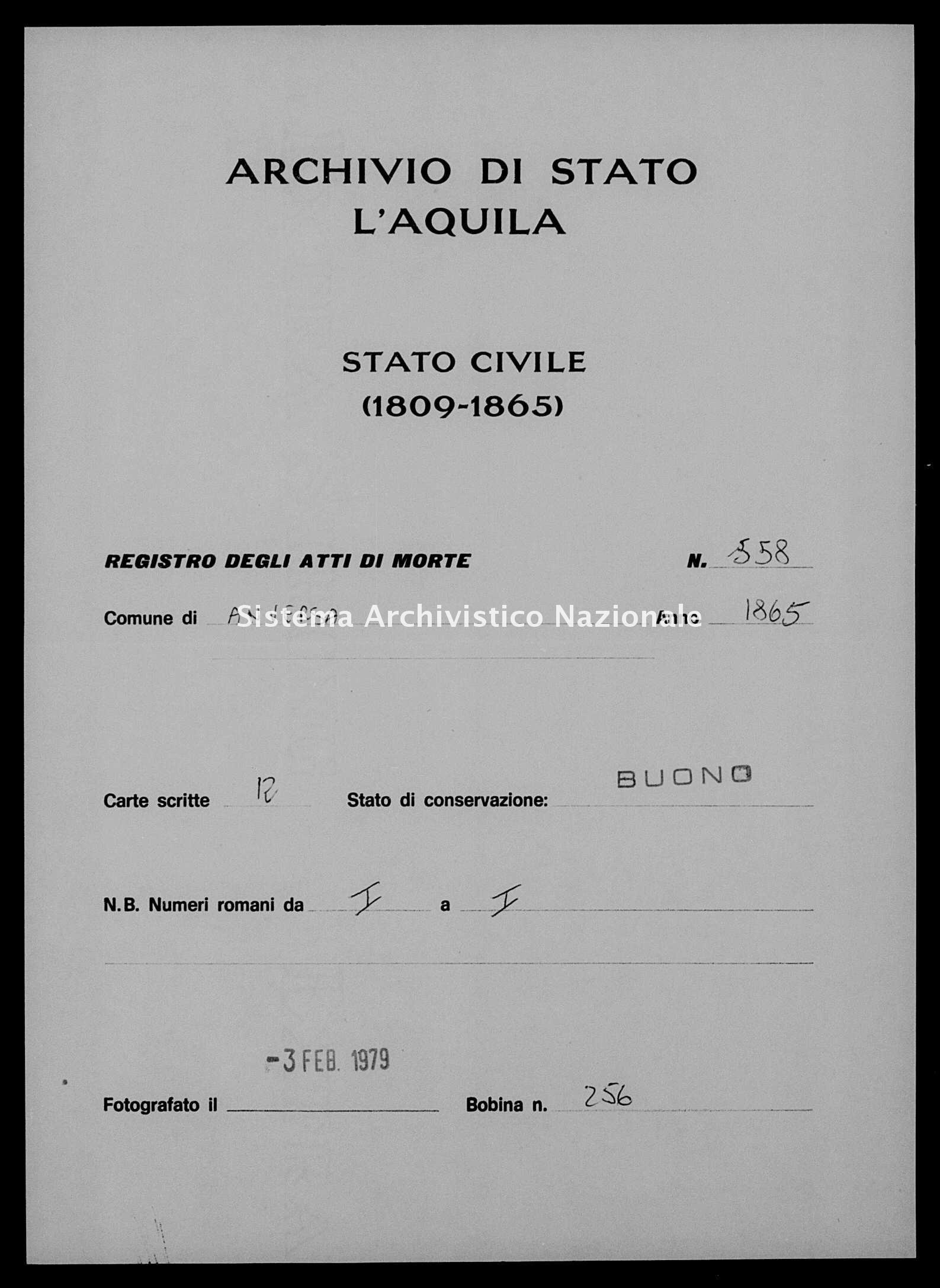 Archivio di stato di L'aquila - Stato civile italiano - Anversa degli Abruzzi - Morti - 1865 - 558 -