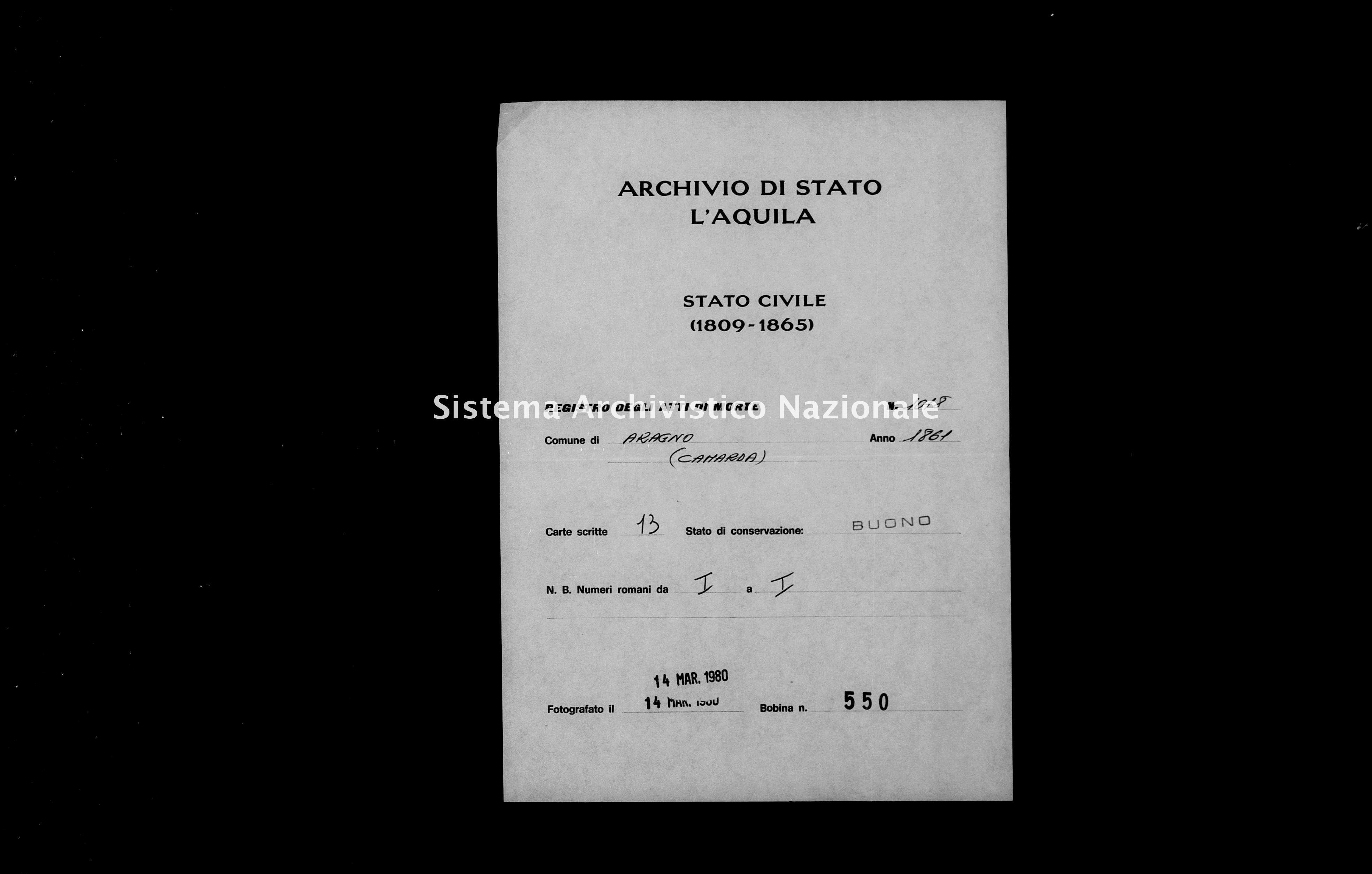 Archivio di stato di L'aquila - Stato civile italiano - Aragno - Morti - 1861 - 1018 -