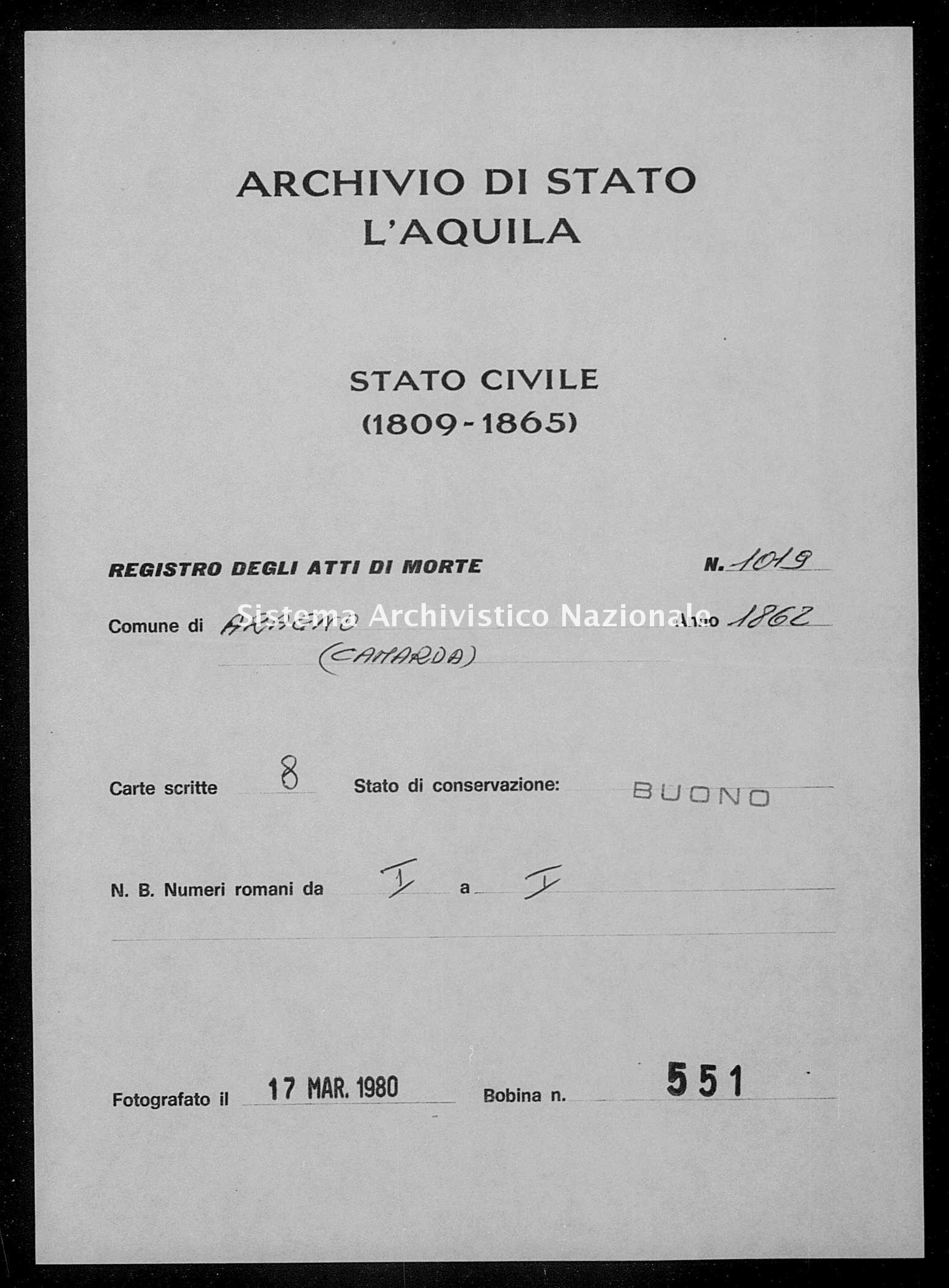 Archivio di stato di L'aquila - Stato civile italiano - Aragno - Morti - 1862 - 1019 -
