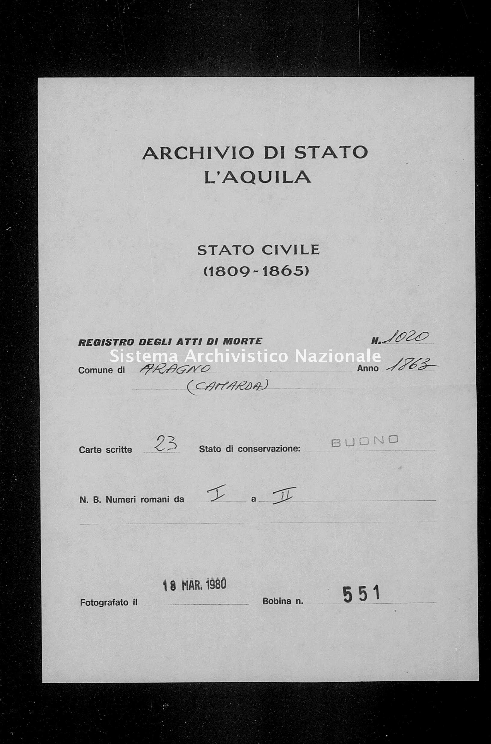Archivio di stato di L'aquila - Stato civile italiano - Aragno - Morti - 1863 - 1020 -