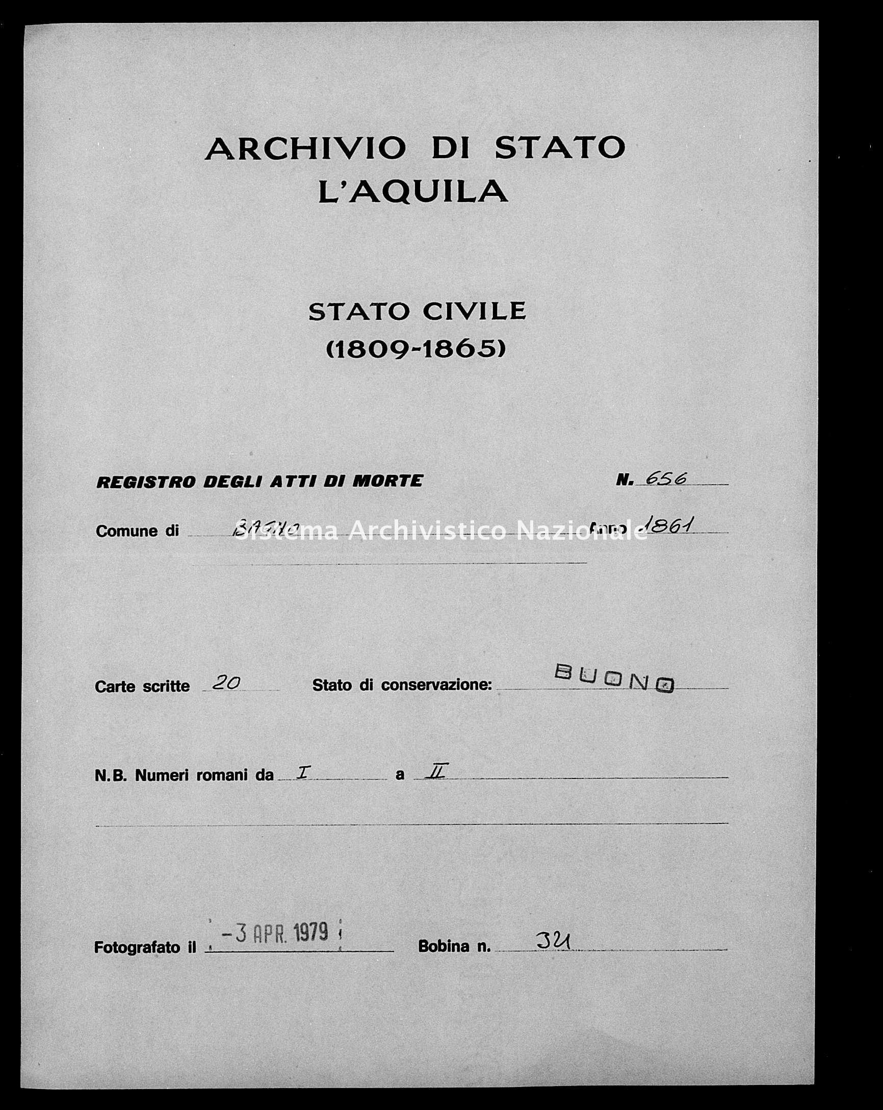 Archivio di stato di L'aquila - Stato civile italiano - Bagno - Morti - 1861 - 656 -