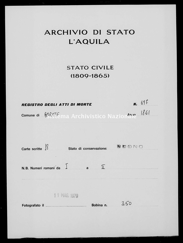 Archivio di stato di L'aquila - Stato civile italiano - Barete - Morti - 1861 - 697 -