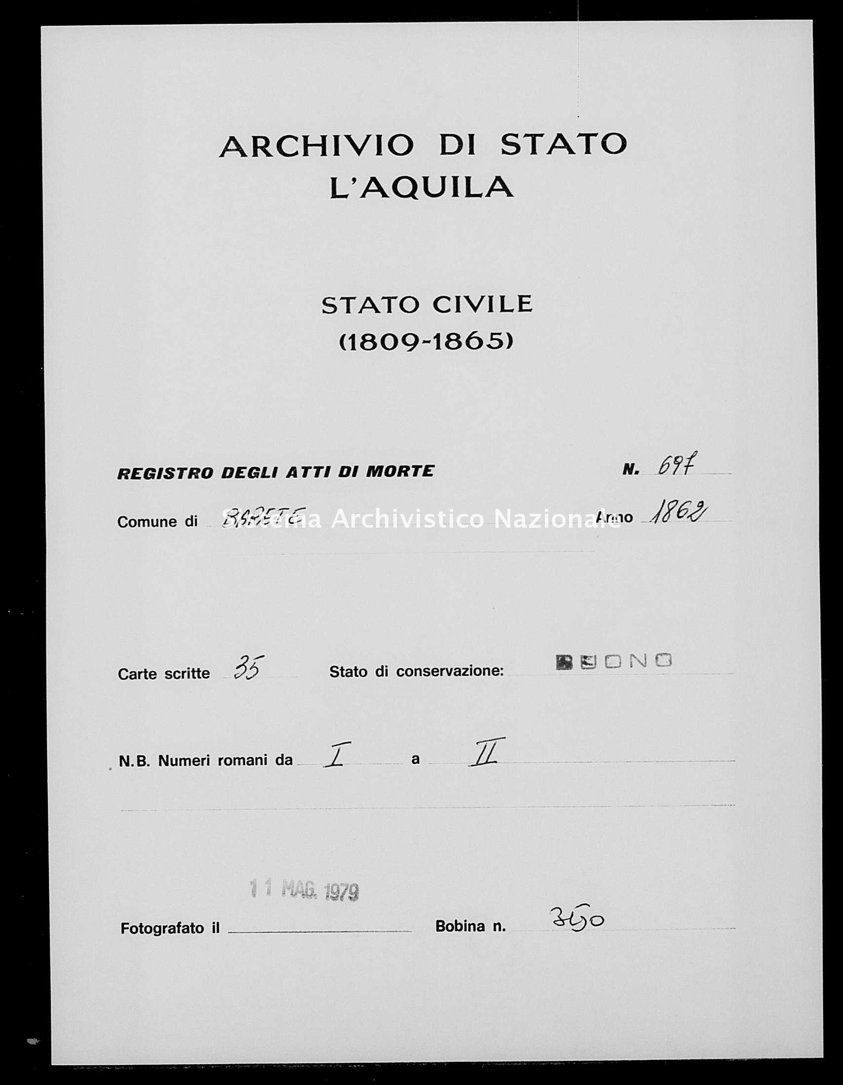 Archivio di stato di L'aquila - Stato civile italiano - Barete - Morti - 1862 - 697 -
