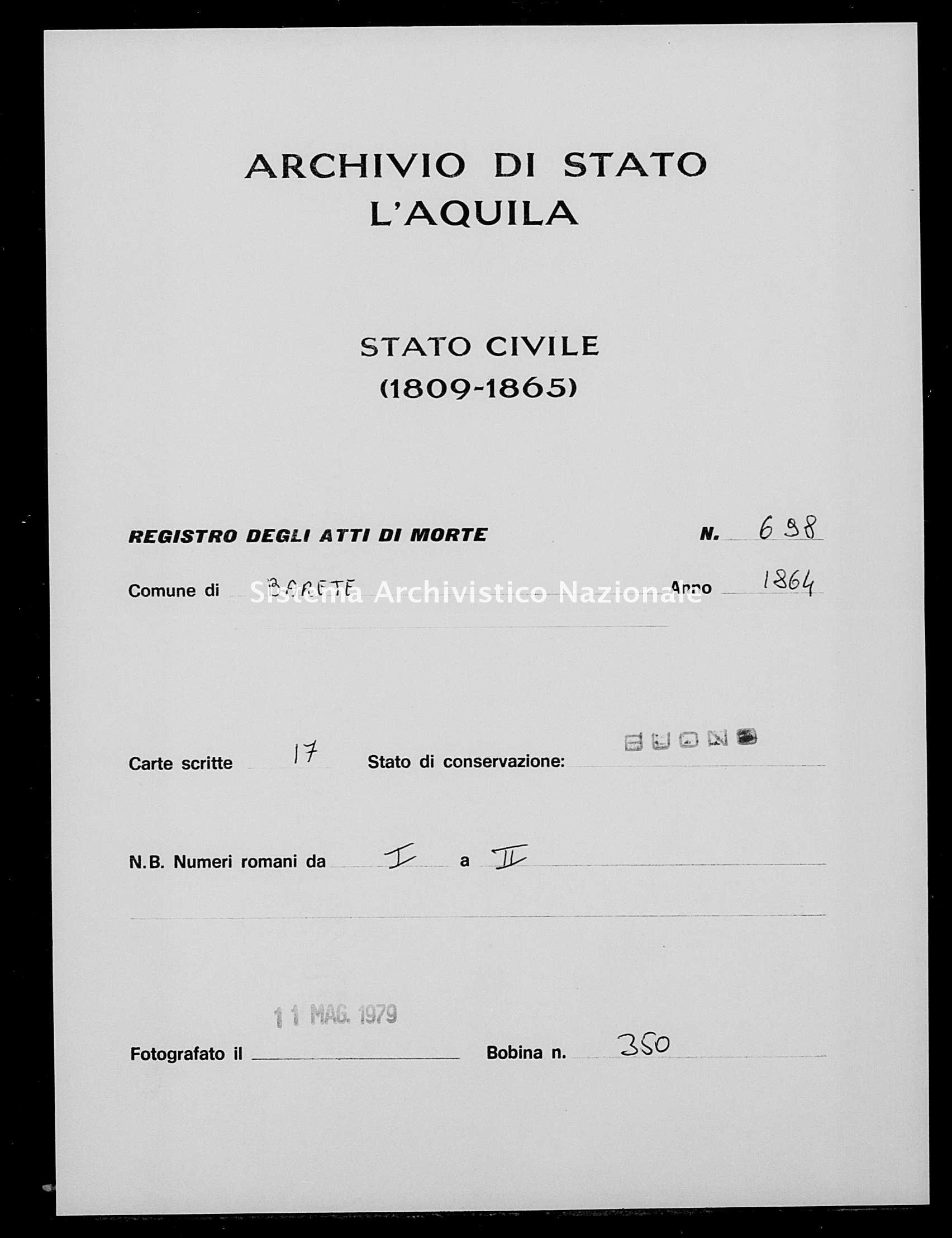 Archivio di stato di L'aquila - Stato civile italiano - Barete - Morti - 1864 - 698 -